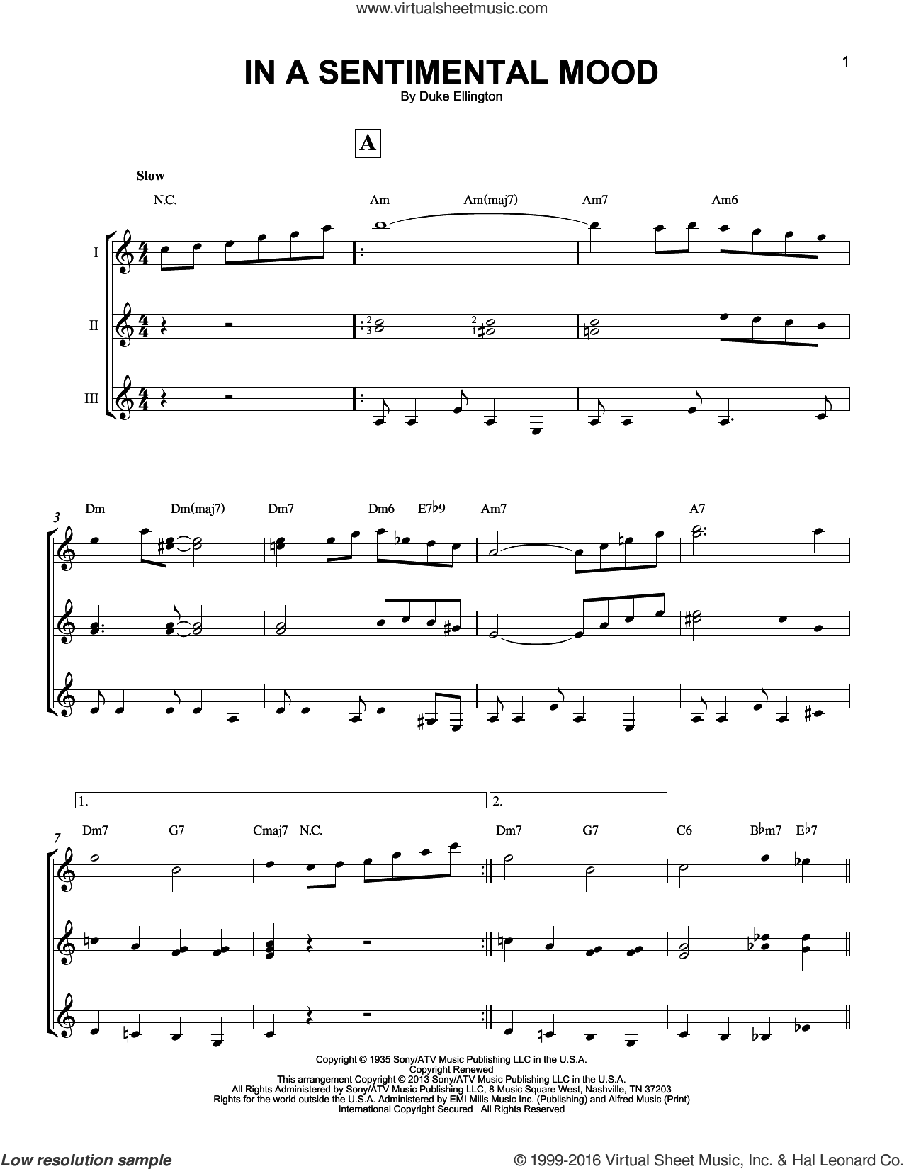 In A Sentimental Mood sheet music for guitar ensemble by Duke Ellington, Irving Mills and Manny Kurtz, intermediate. Score Image Preview.