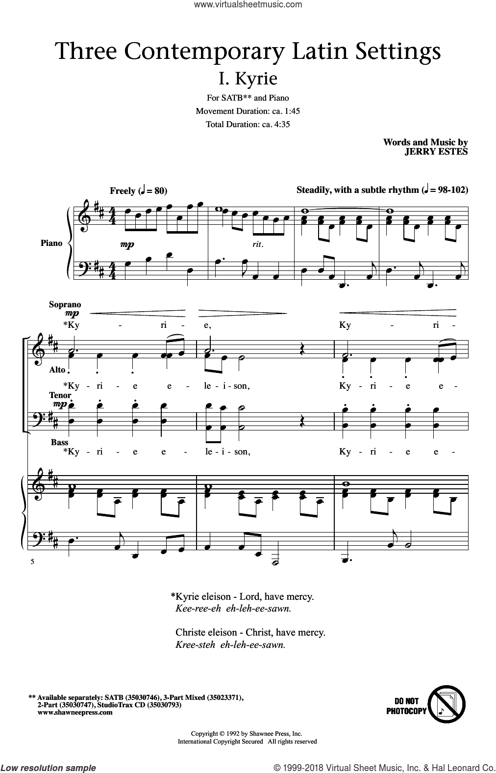 Kyrie sheet music for choir (SATB) by Jerry Estes. Score Image Preview.