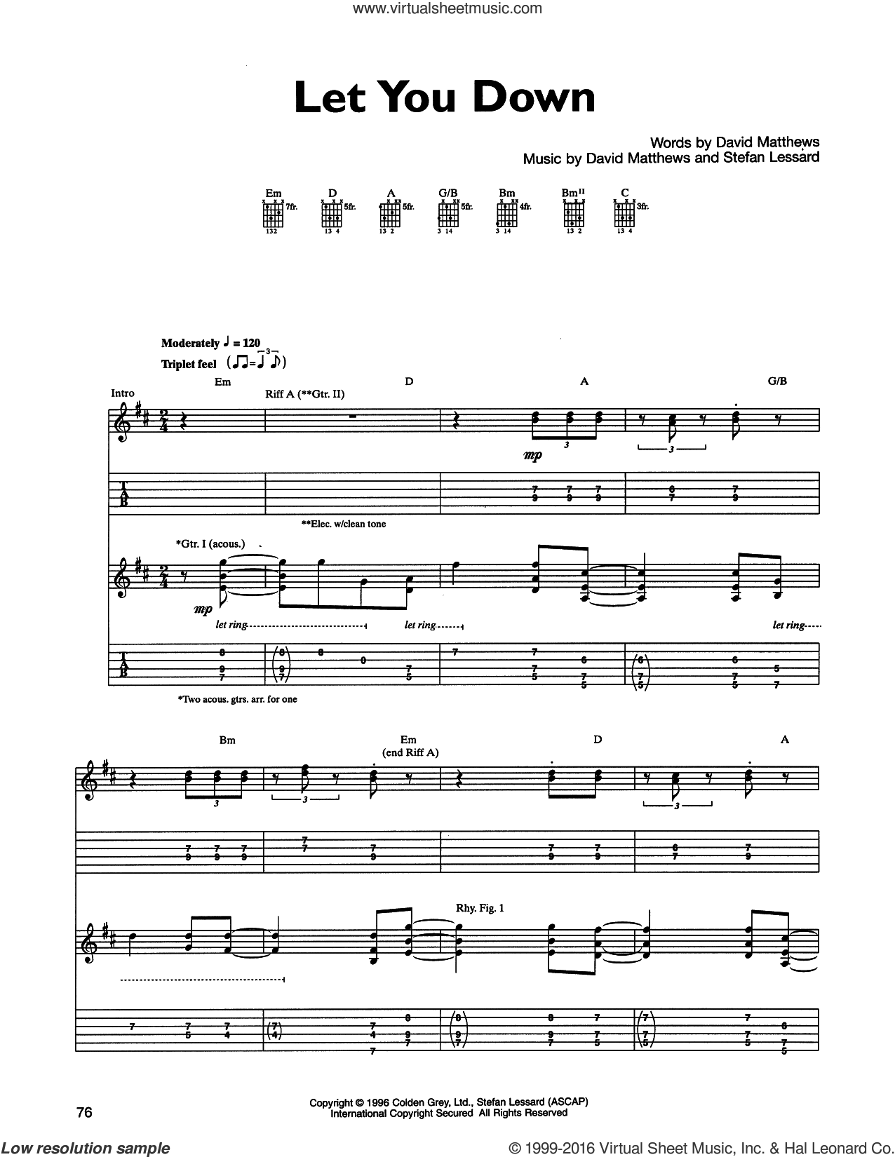 Let You Down sheet music for guitar (tablature) by Stefan Lessard and Dave Matthews Band. Score Image Preview.