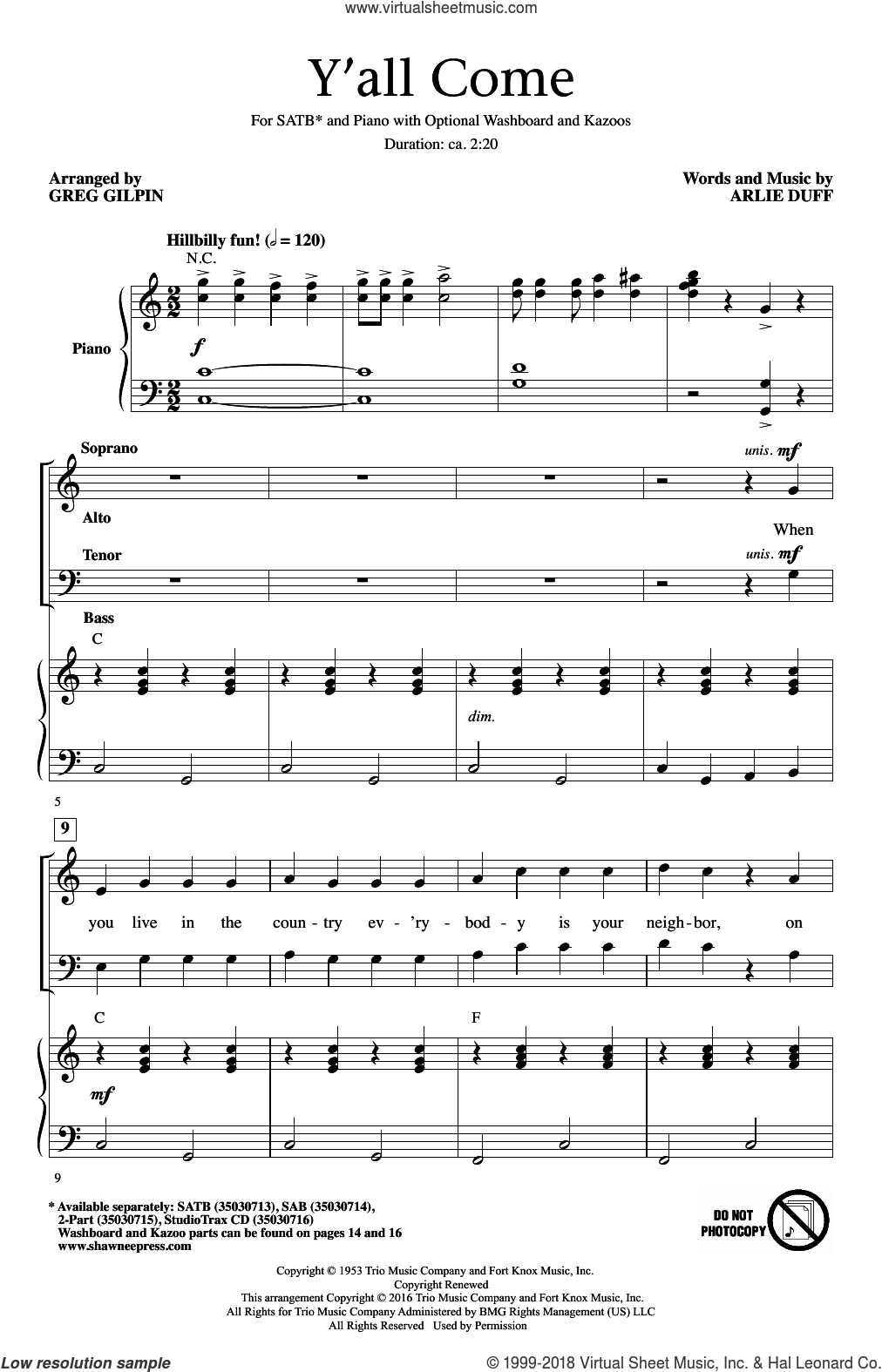 Y'All Come sheet music for choir (SATB) by Greg Gilpin and Arlie Duff. Score Image Preview.