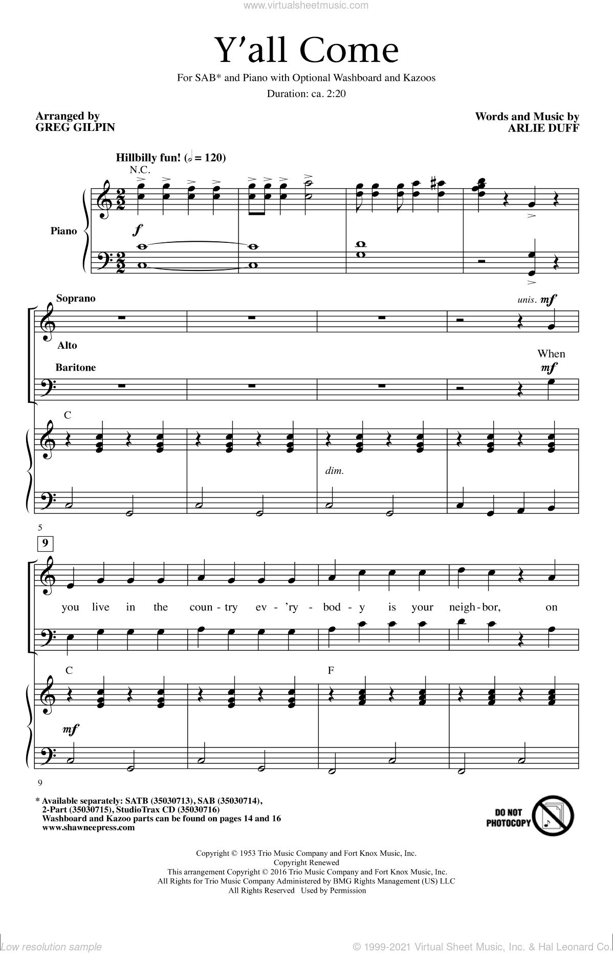 Y'All Come sheet music for choir (SAB) by Greg Gilpin and Arlie Duff. Score Image Preview.