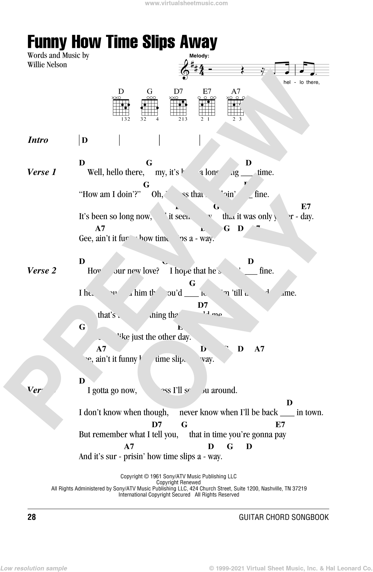 Funny How Time Slips Away sheet music for guitar (chords) by Willie Nelson, Billy Walker, Elvis Presley, Lyle Lovett and Al Green and Narvel Felts, intermediate skill level