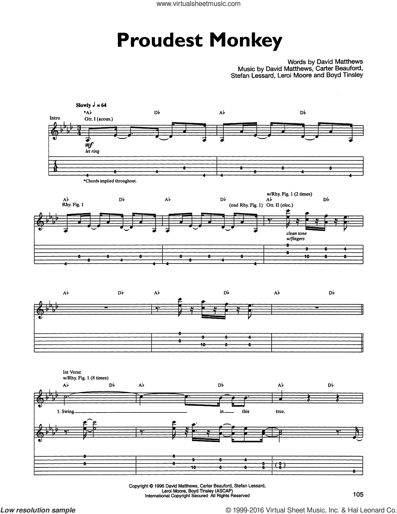 Proudest Monkey sheet music for guitar (tablature) by Dave Matthews Band. Score Image Preview.