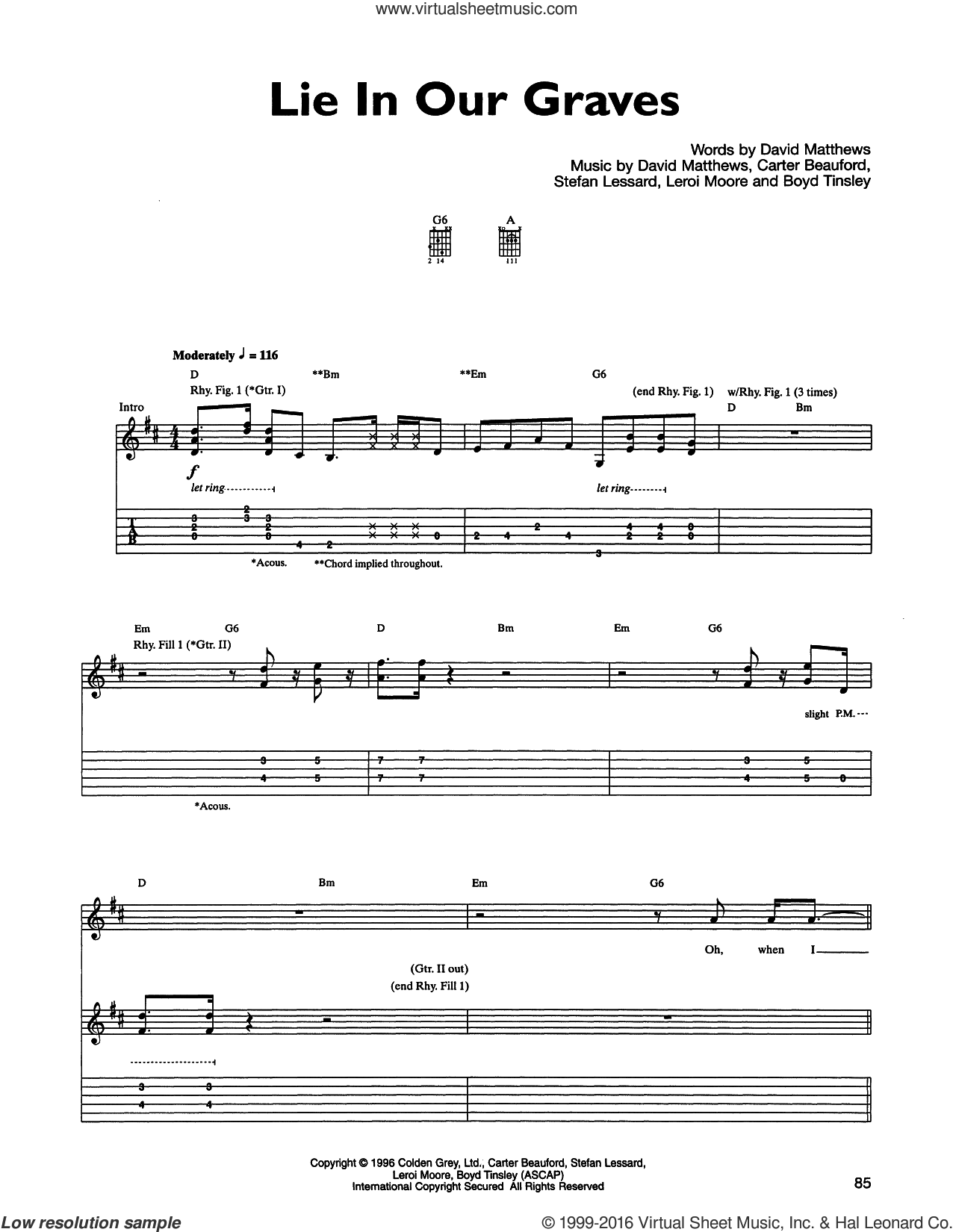 Lie In Our Graves sheet music for guitar (tablature) by Stefan Lessard, Carter Beauford, Dave Matthews Band and Leroi Moore. Score Image Preview.