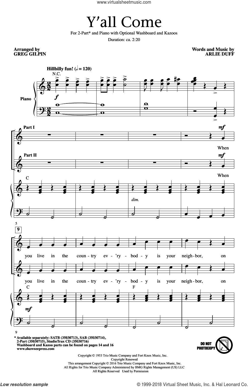 Y'All Come sheet music for choir (duets) by Greg Gilpin and Arlie Duff. Score Image Preview.