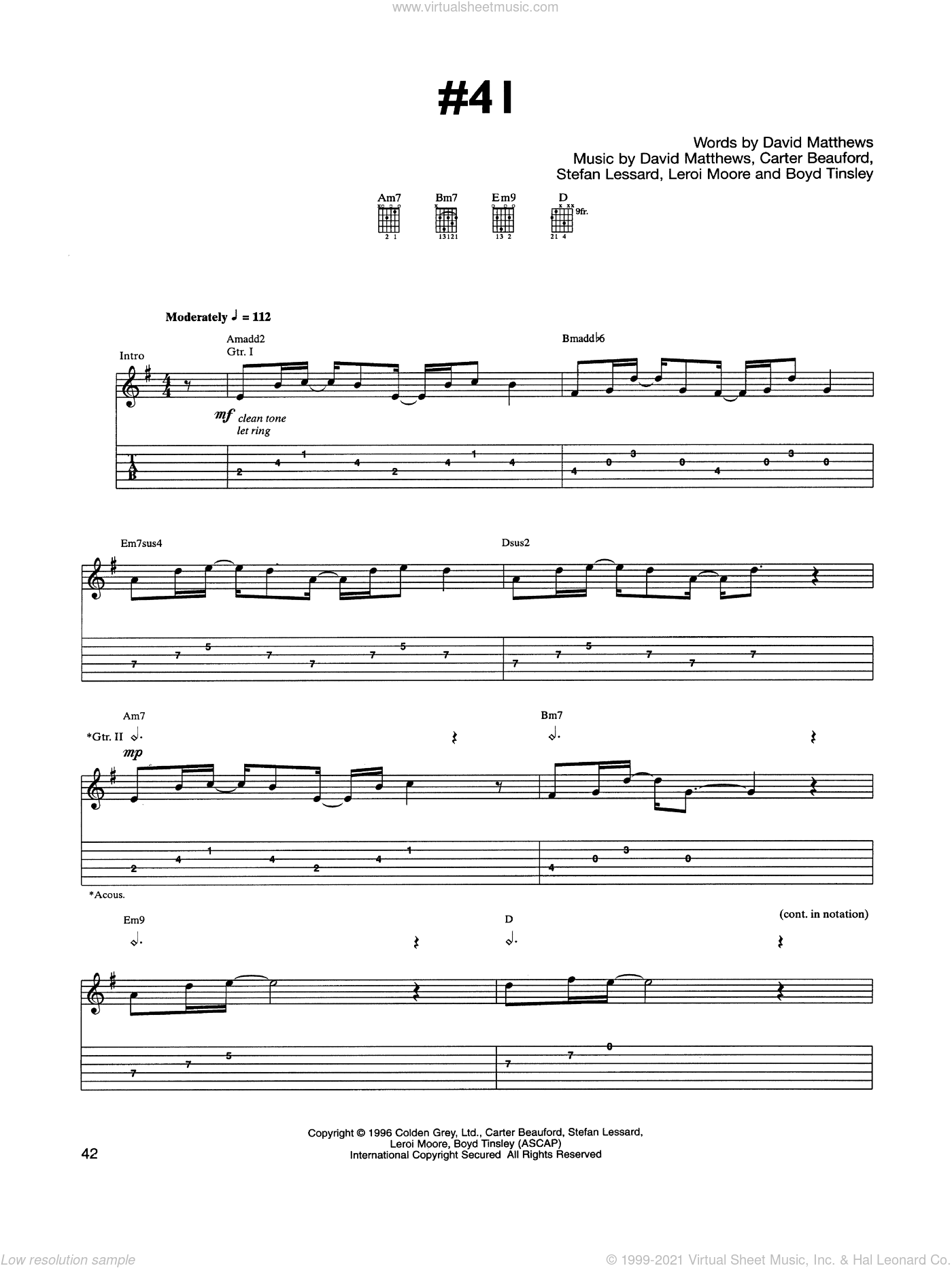 #41 sheet music for guitar (tablature) by Dave Matthews Band, Boyd Tinsley, Carter Beauford, Leroi Moore and Stefan Lessard, intermediate skill level