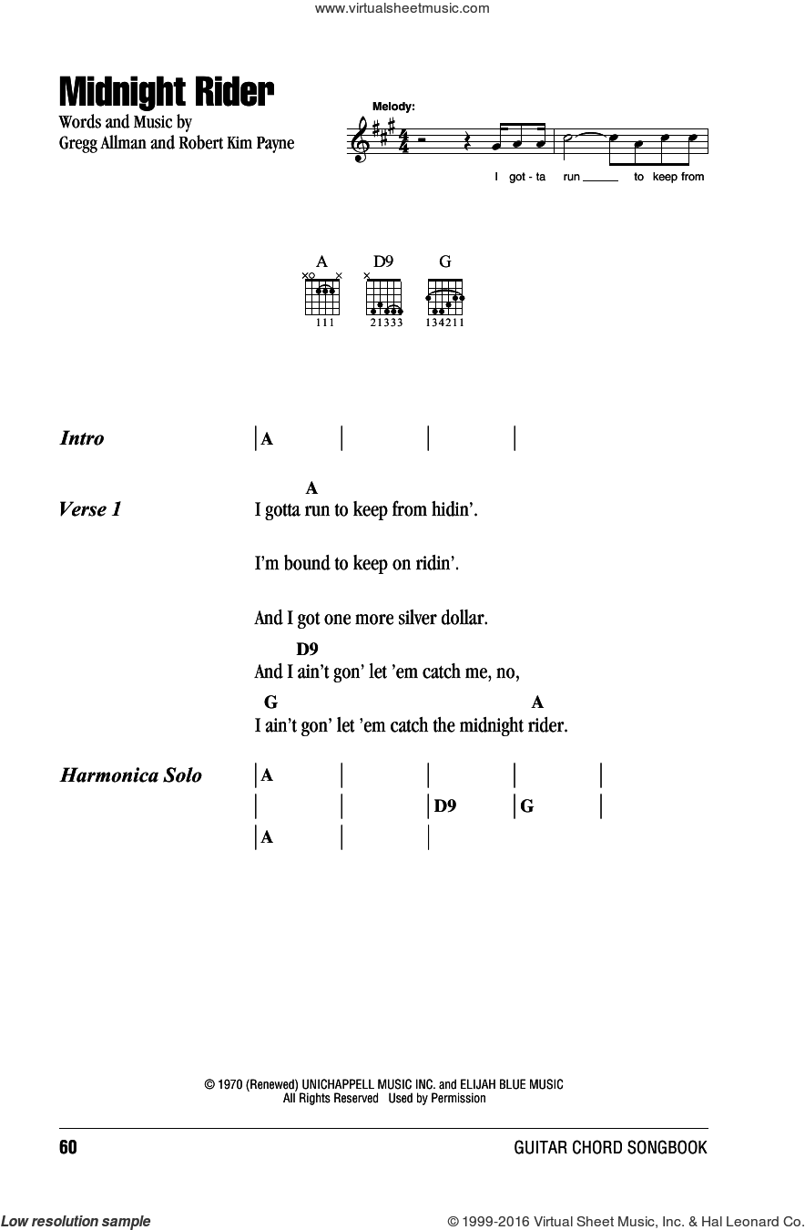 Midnight Rider sheet music for guitar (chords) by Robert Kim Payne, Willie Nelson and Gregg Allman. Score Image Preview.
