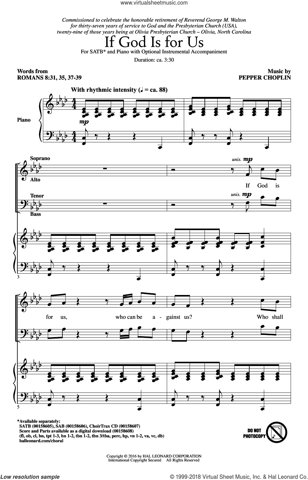If God Is For Us sheet music for choir (SATB) by Pepper Choplin. Score Image Preview.