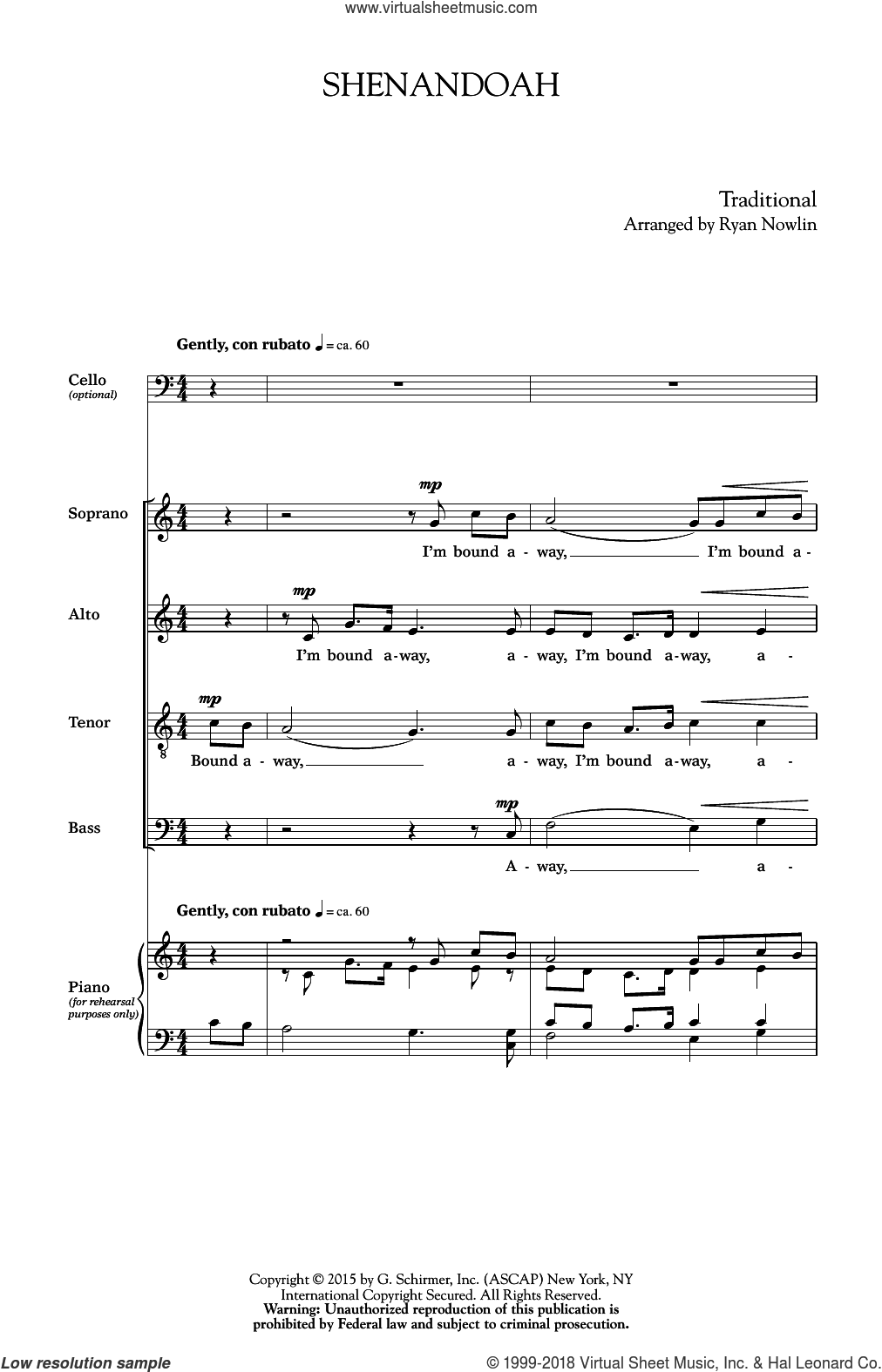 Shenandoah sheet music for choir (Cello) by Ryan Nowlin. Score Image Preview.