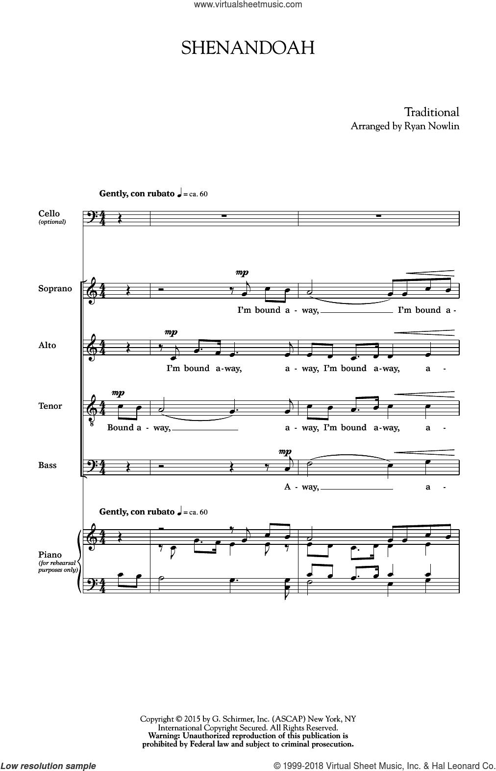 Shenandoah sheet music for choir (Cello) by Ryan Nowlin, intermediate skill level