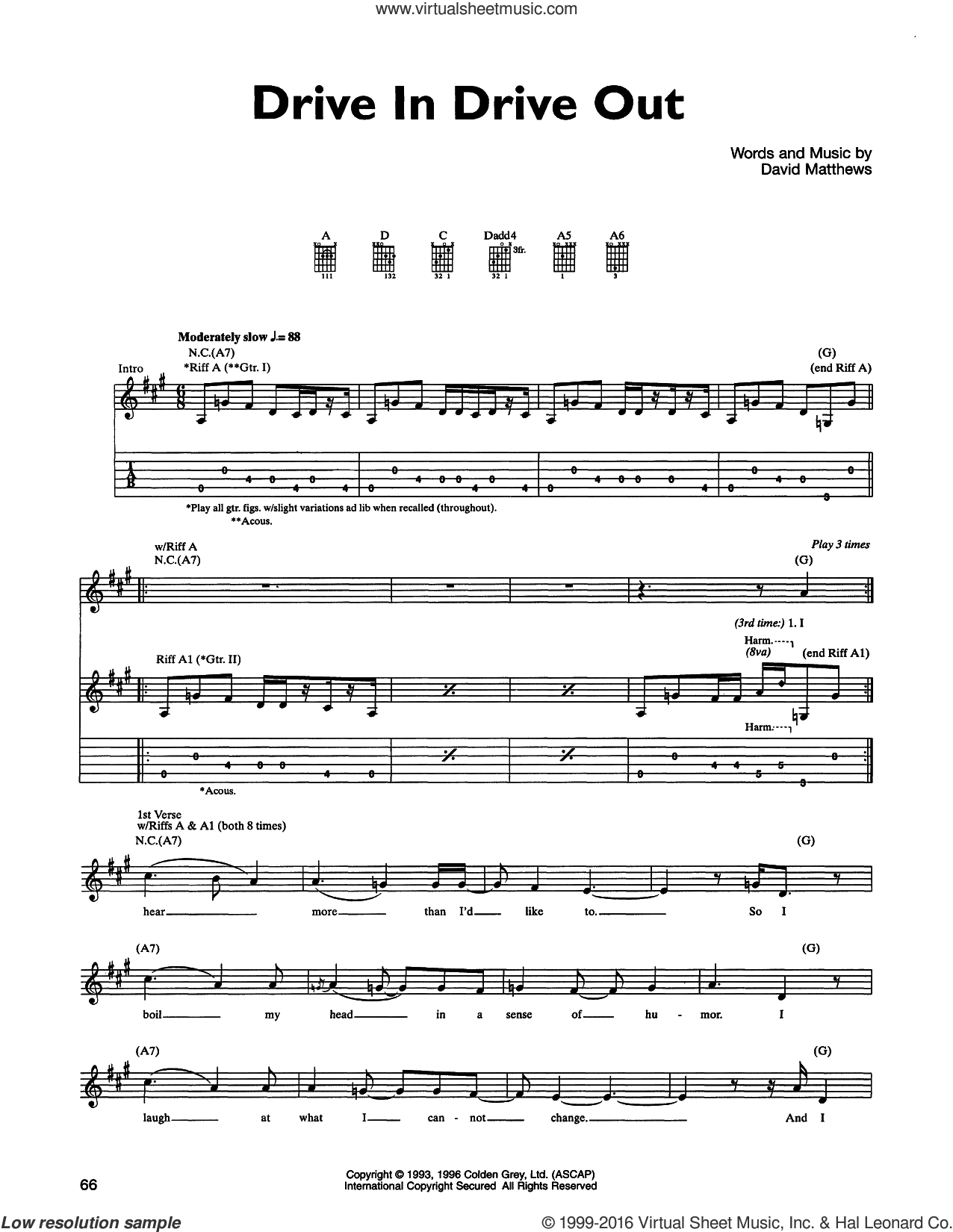 Drive In Drive Out sheet music for guitar (tablature) by Dave Matthews Band. Score Image Preview.