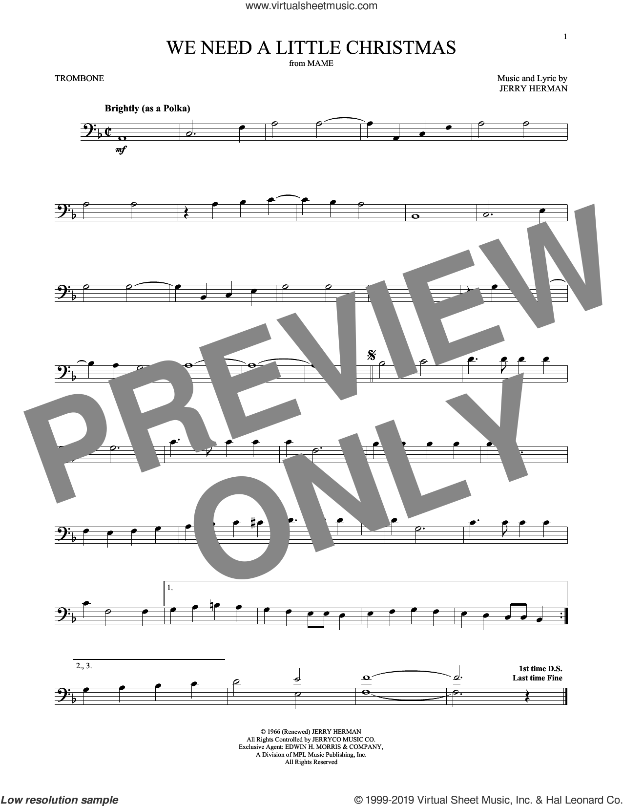 We Need A Little Christmas sheet music for trombone solo by Jerry Herman and Kimberley Locke, intermediate skill level