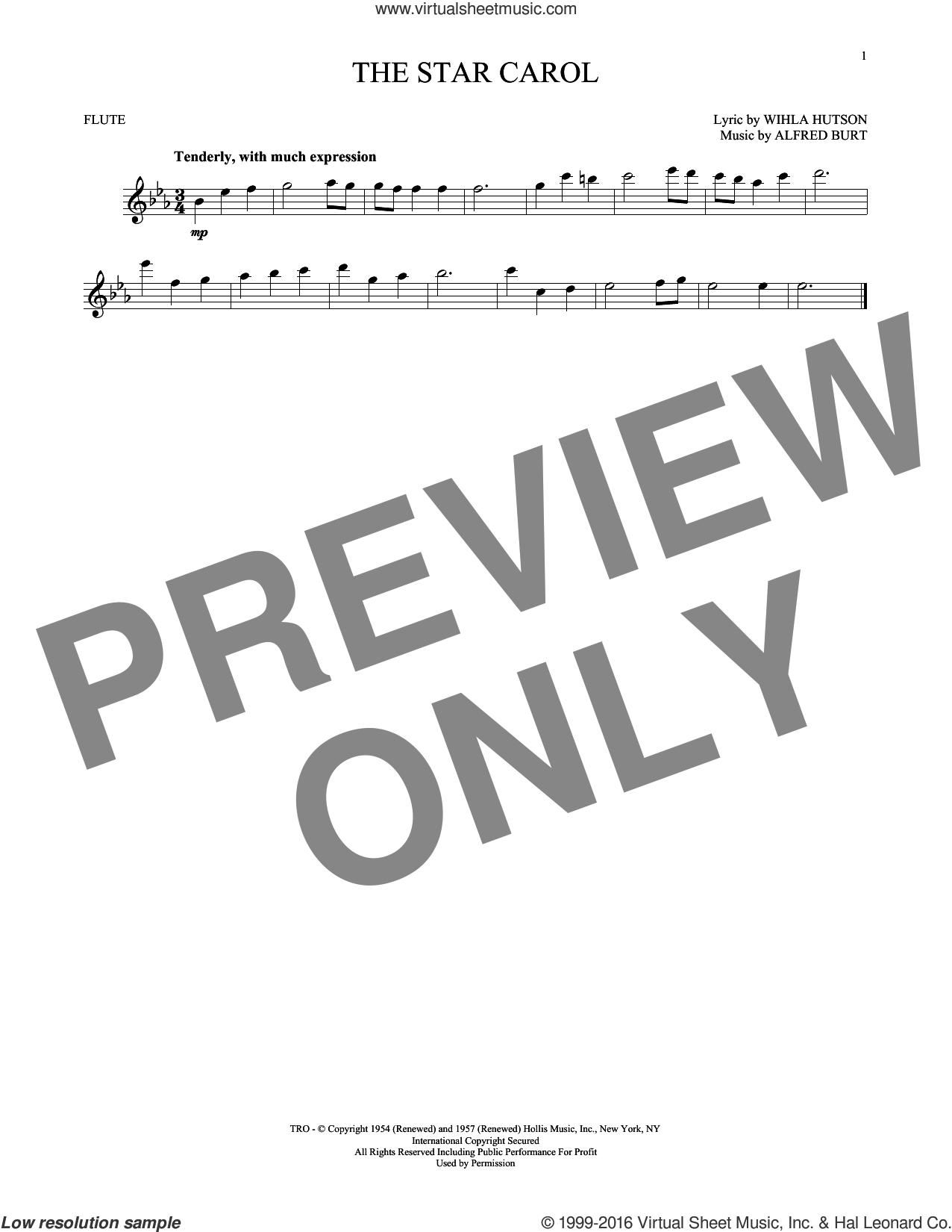 The Star Carol sheet music for flute solo by Alfred Burt and Wihla Hutson, intermediate skill level