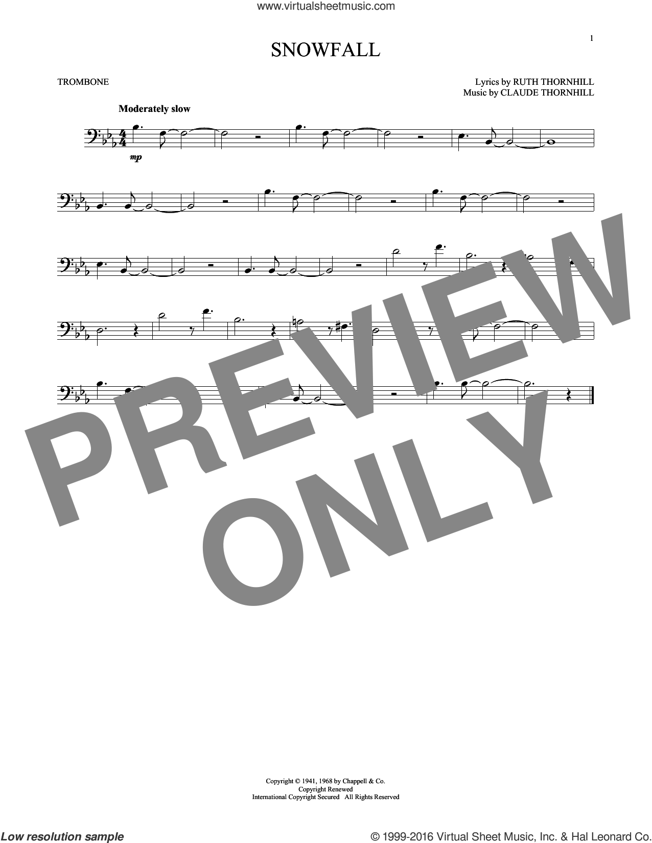 Snowfall sheet music for trombone solo by Ruth Thornhill and Tony Bennett. Score Image Preview.