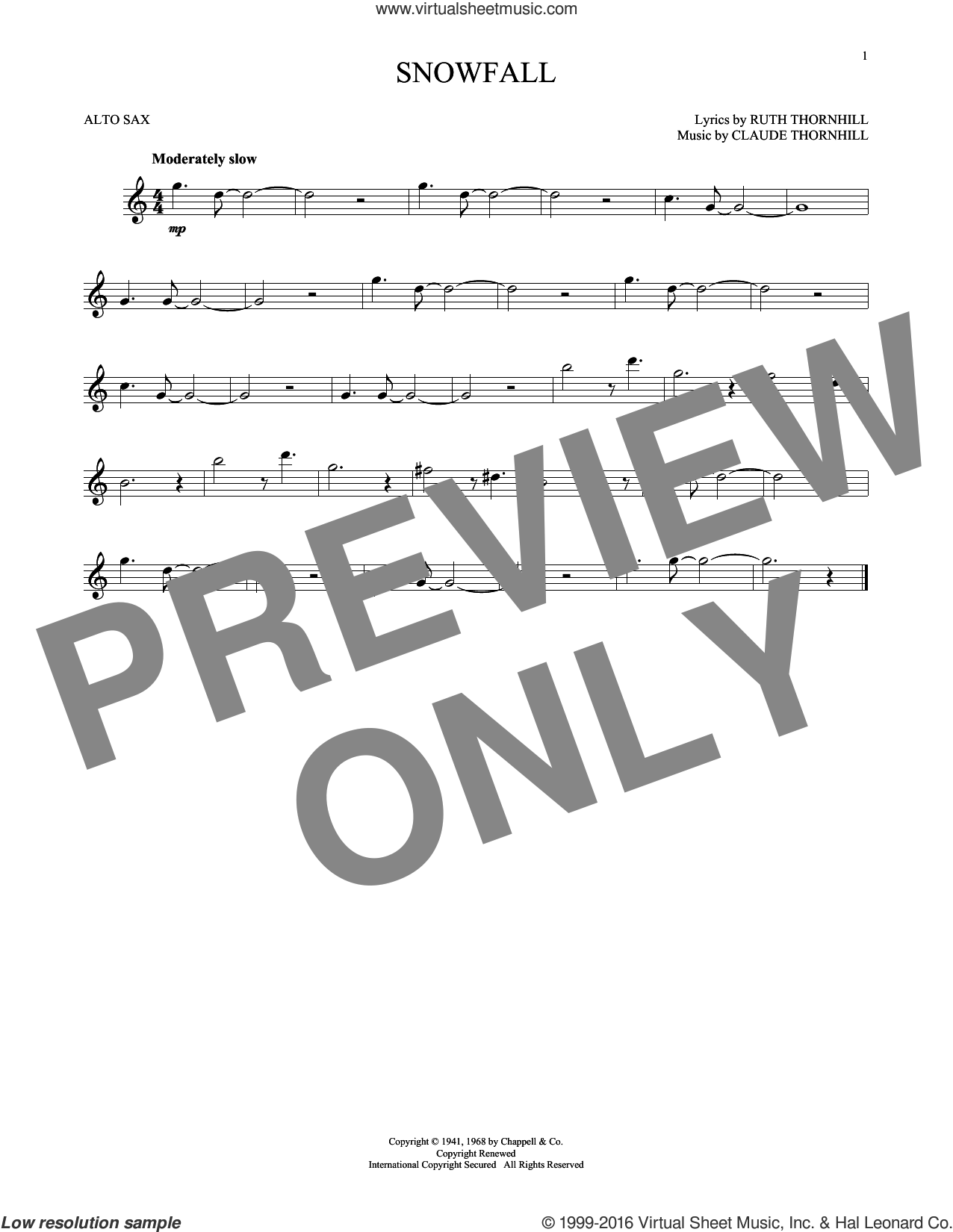 Snowfall sheet music for alto saxophone solo by Ruth Thornhill and Tony Bennett. Score Image Preview.