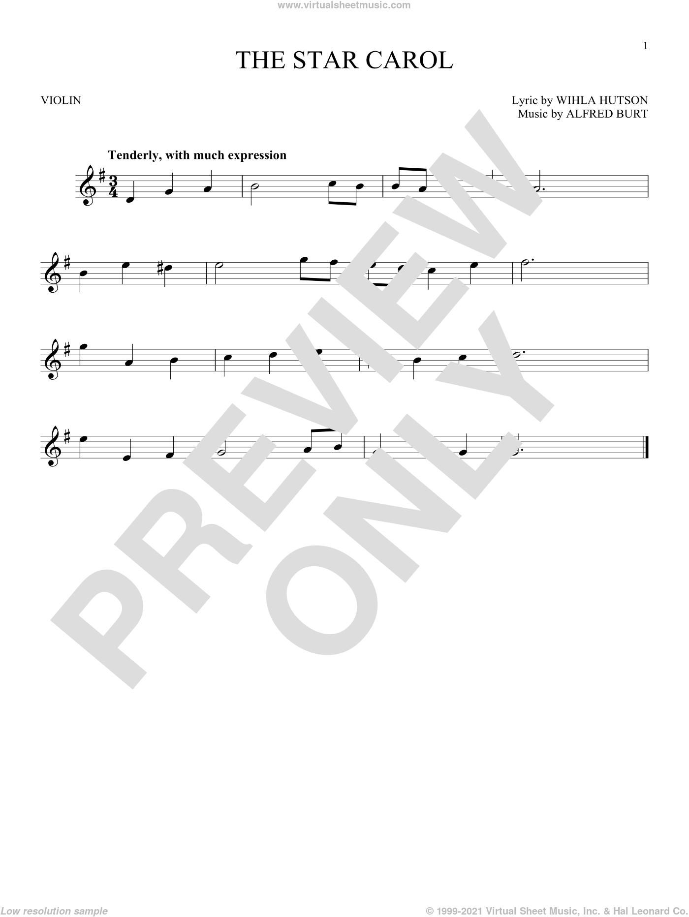 The Star Carol sheet music for violin solo by Alfred Burt and Wihla Hutson, Christmas carol score, intermediate violin. Score Image Preview.