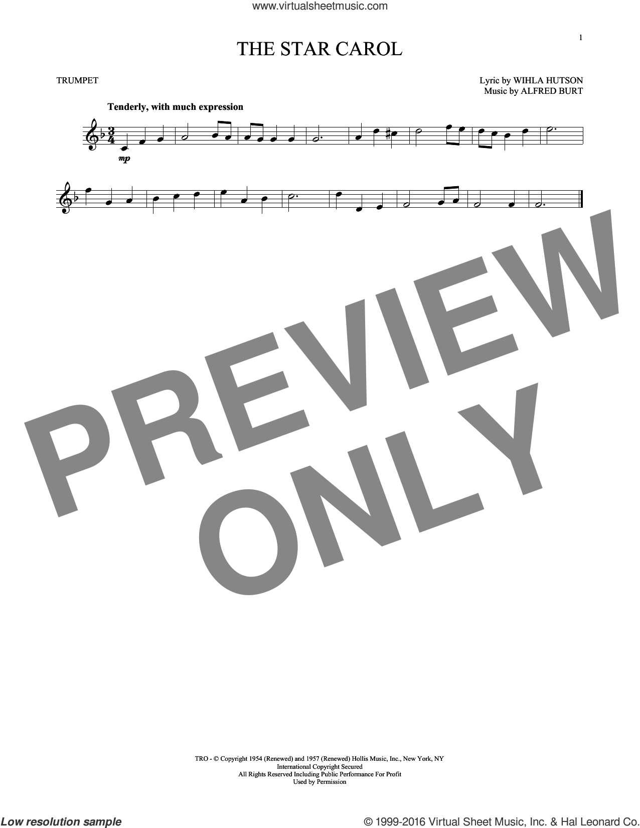 The Star Carol sheet music for trumpet solo by Alfred Burt and Wihla Hutson, intermediate skill level