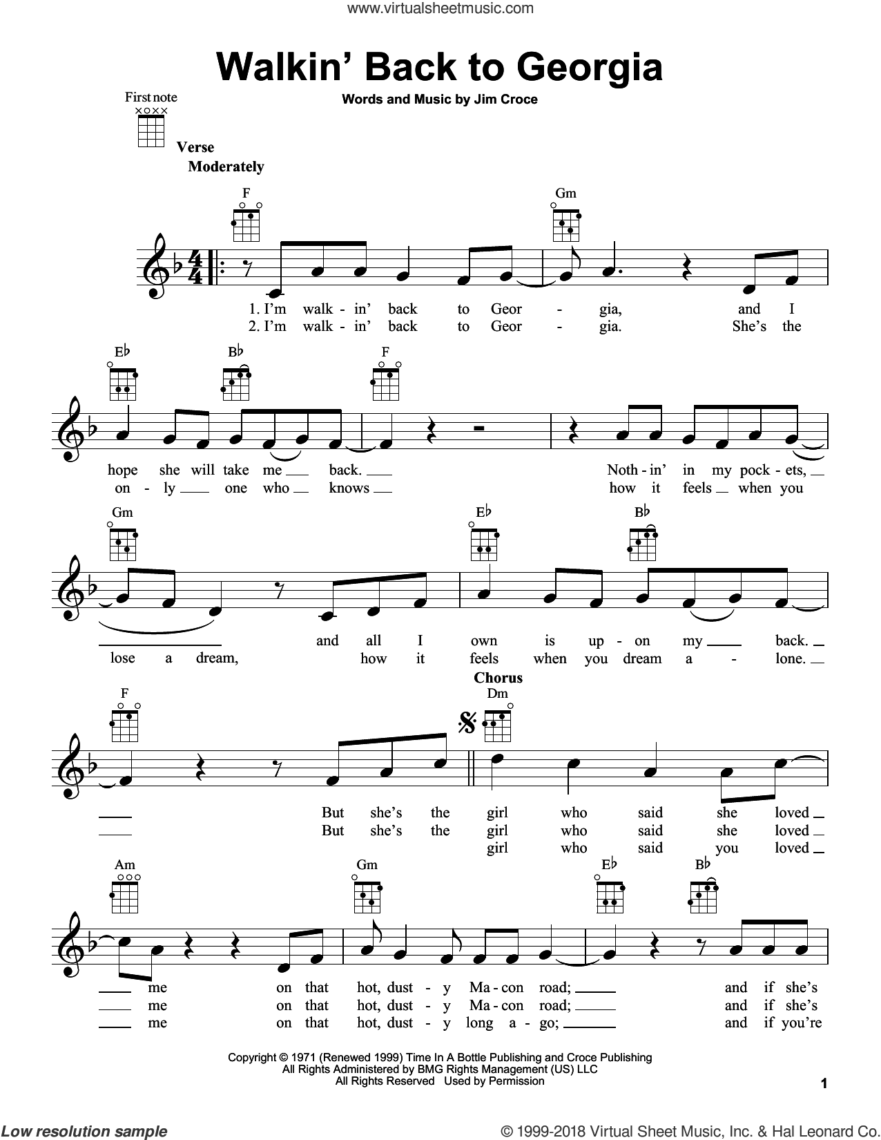 Walkin' Back To Georgia sheet music for ukulele by Jim Croce, intermediate skill level