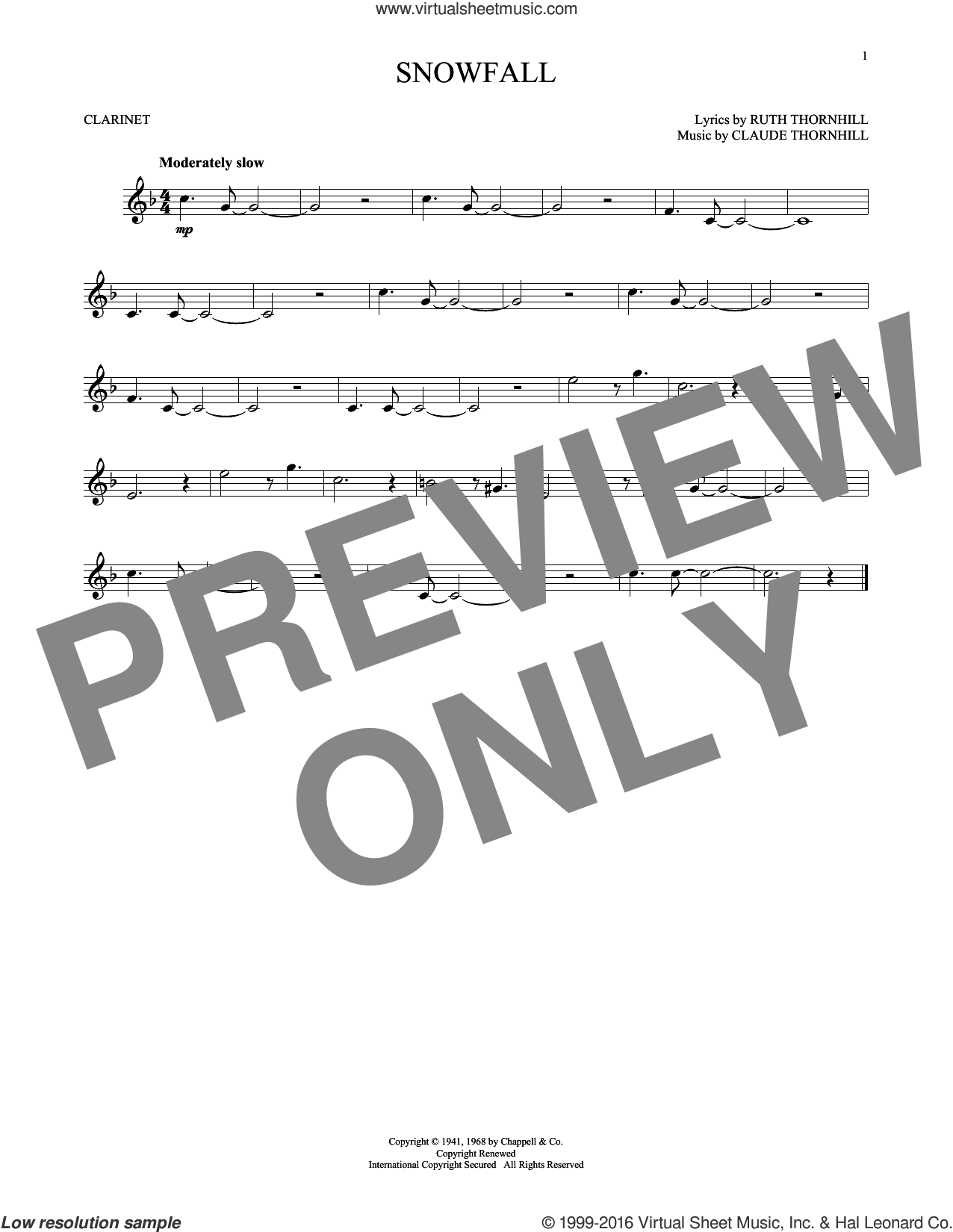 Snowfall sheet music for clarinet solo by Claude Thornhill and Tony Bennett. Score Image Preview.