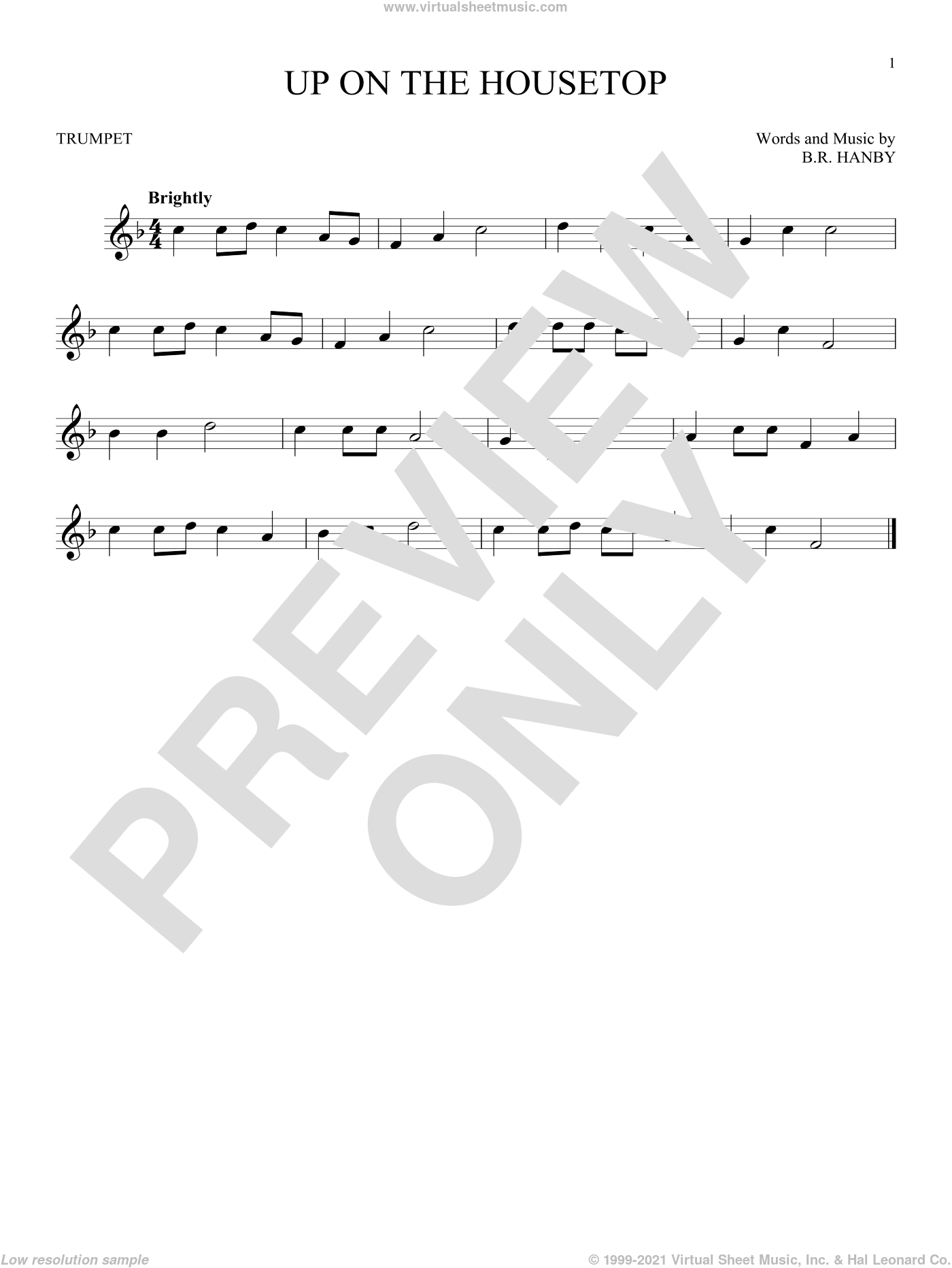 Up On The Housetop sheet music for trumpet solo by Benjamin Hanby, intermediate skill level