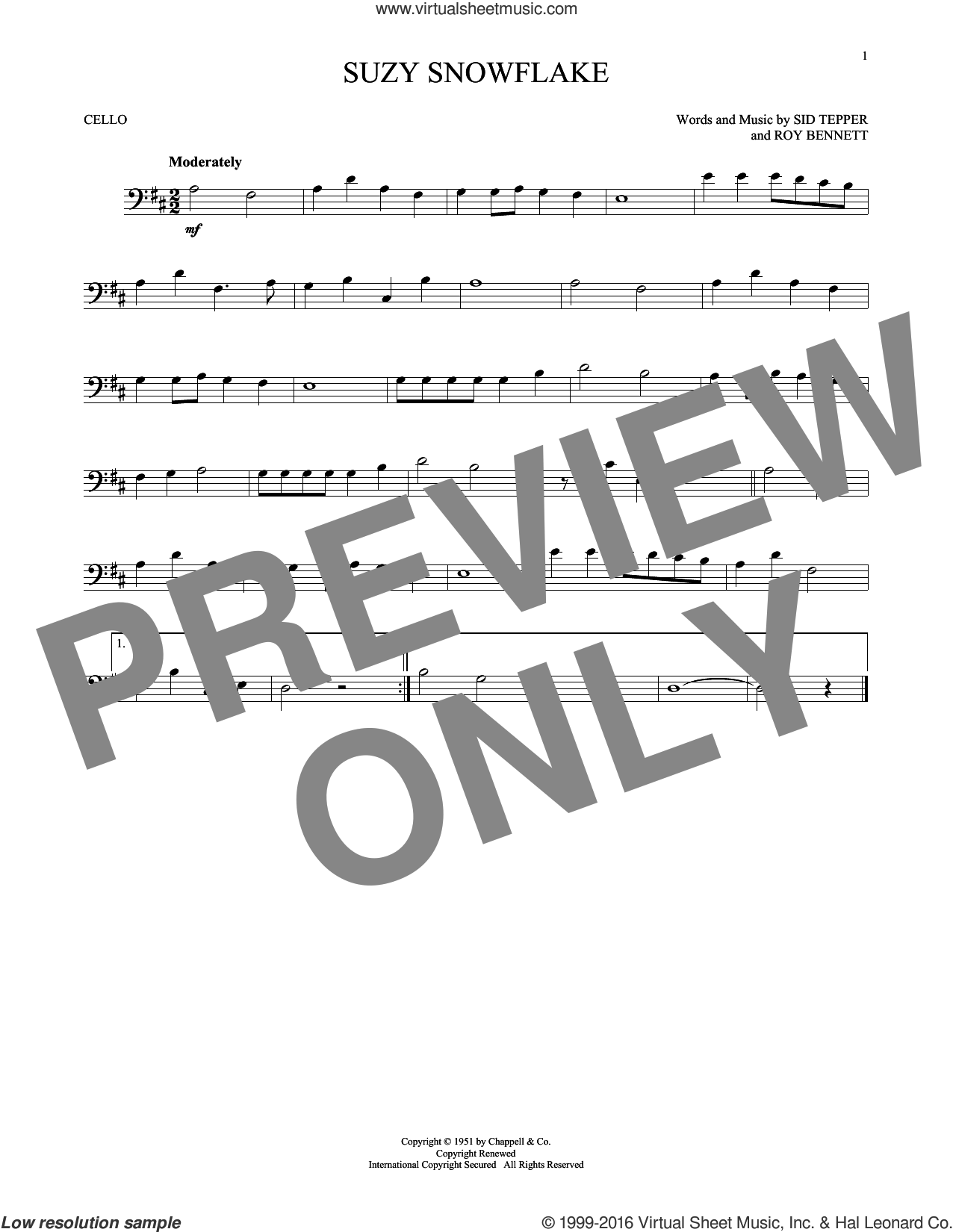 Suzy Snowflake sheet music for cello solo by Sid Tepper and Roy Bennett. Score Image Preview.