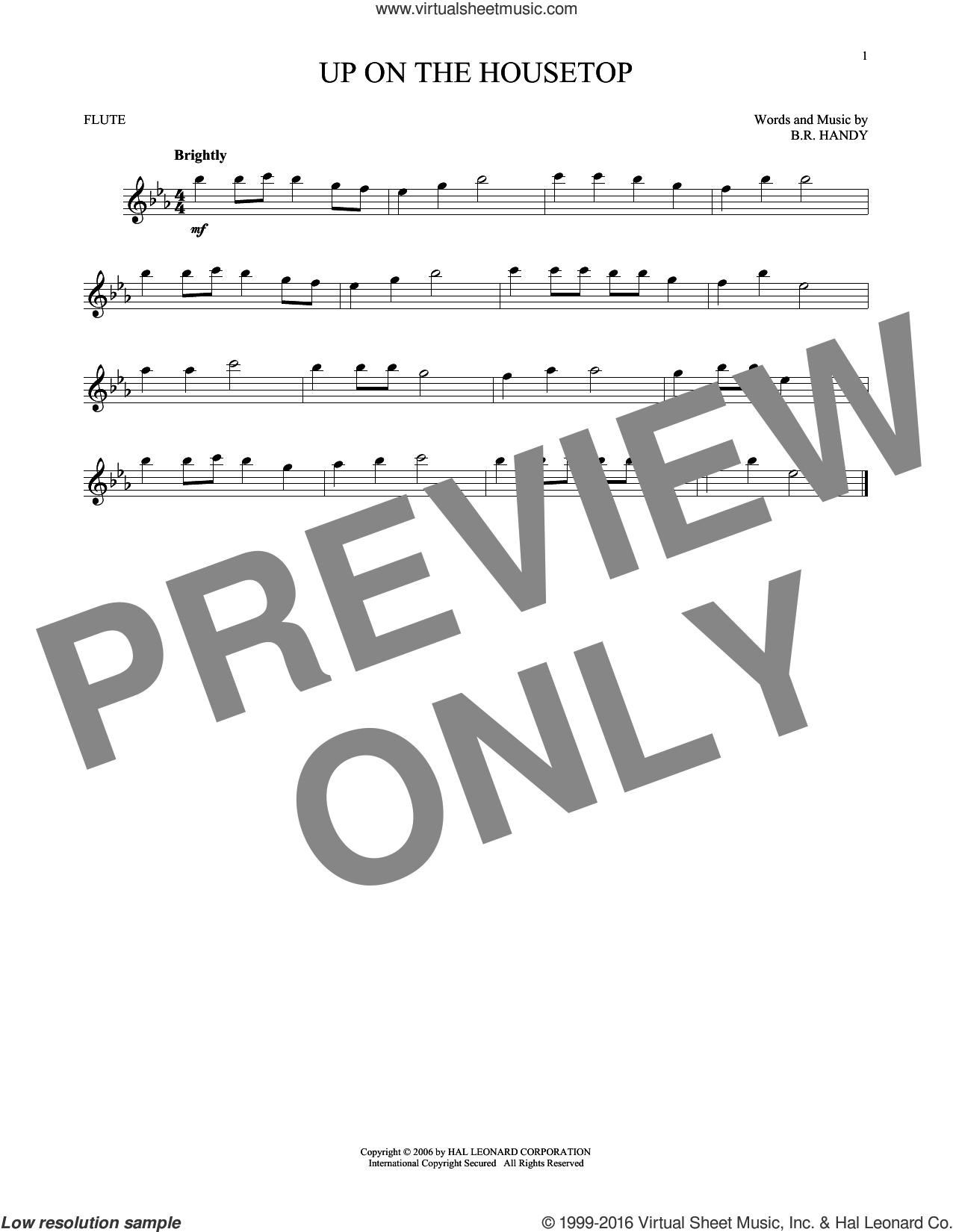 Up On The Housetop sheet music for flute solo by Benjamin Hanby. Score Image Preview.