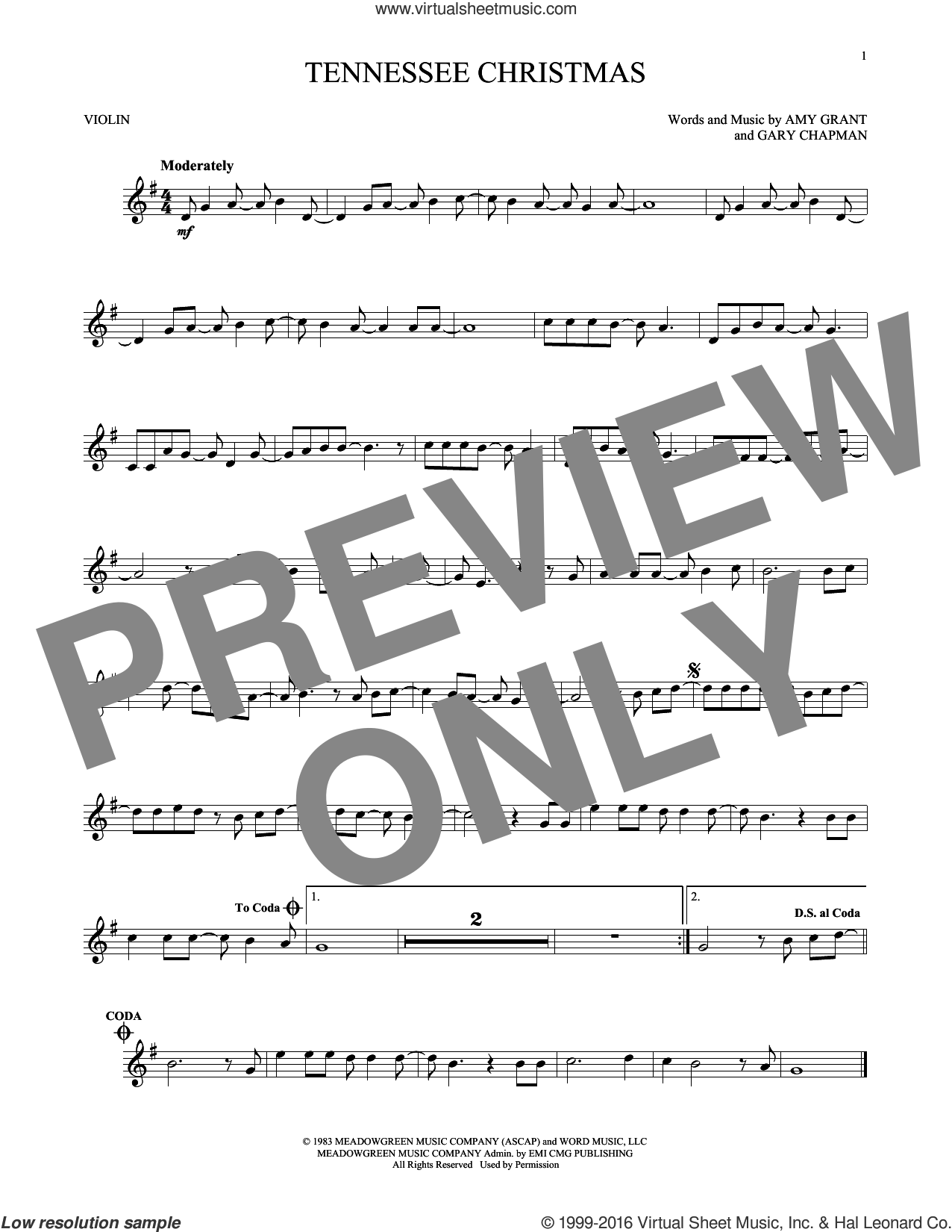 Tennessee Christmas sheet music for violin solo by Amy Grant, Christmas carol score, intermediate violin. Score Image Preview.