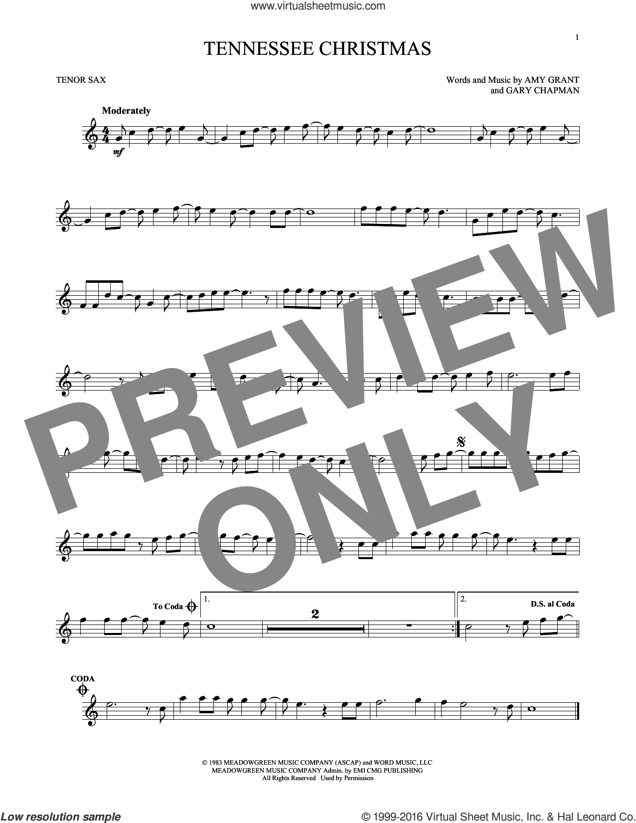 Tennessee Christmas sheet music for tenor saxophone solo by Amy Grant and Gary Chapman, intermediate skill level