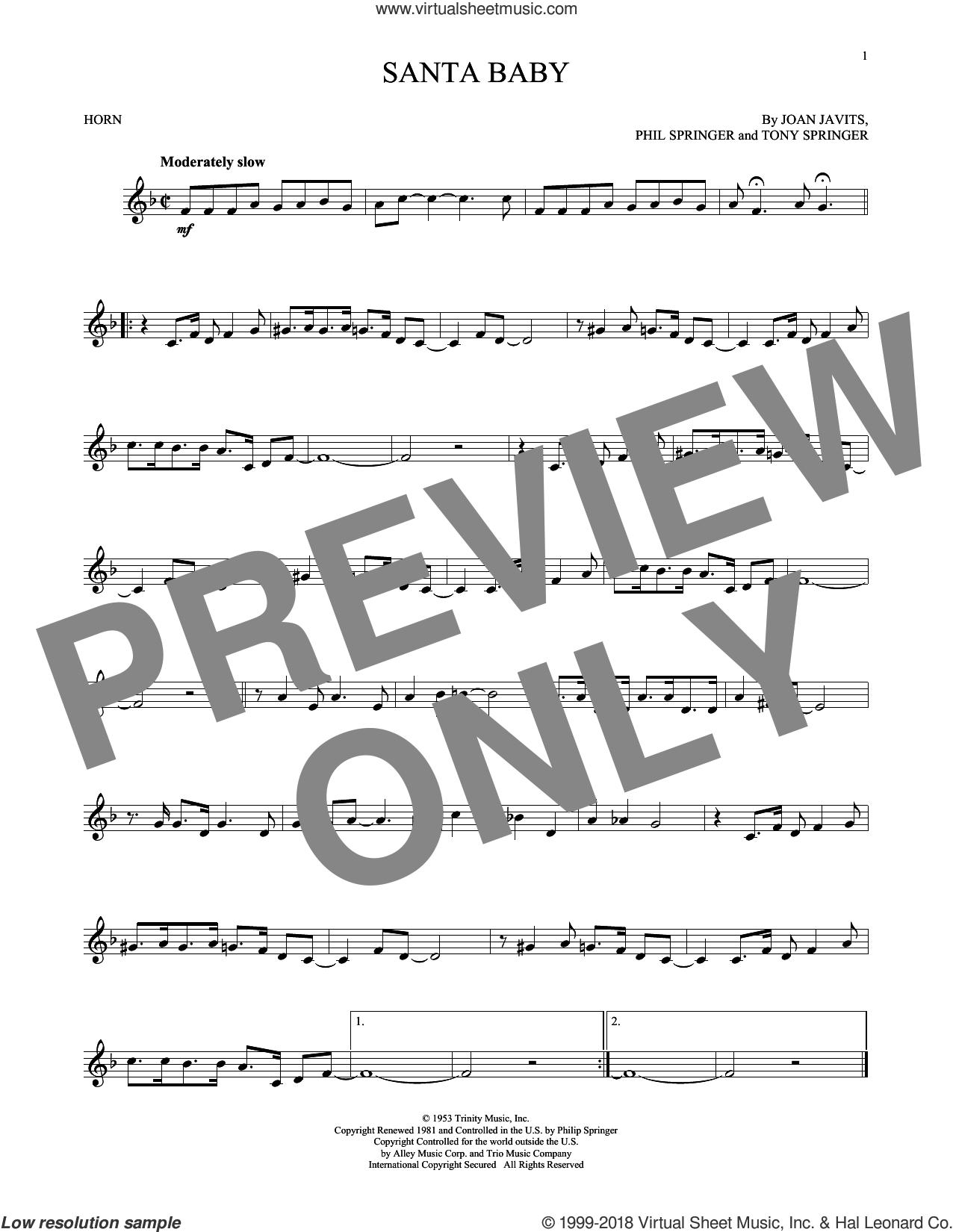 Santa Baby sheet music for horn solo by Eartha Kitt, Kellie Pickler, Taylor Swift, Joan Javits, Phil Springer and Tony Springer, intermediate skill level