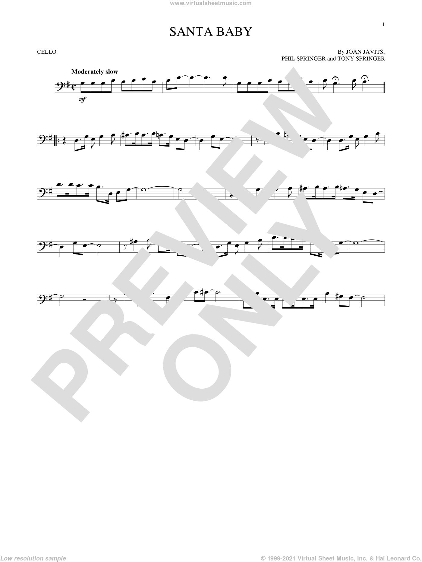 Santa Baby sheet music for cello solo by Eartha Kitt, Kellie Pickler, Taylor Swift, Joan Javits, Phil Springer and Tony Springer, intermediate skill level