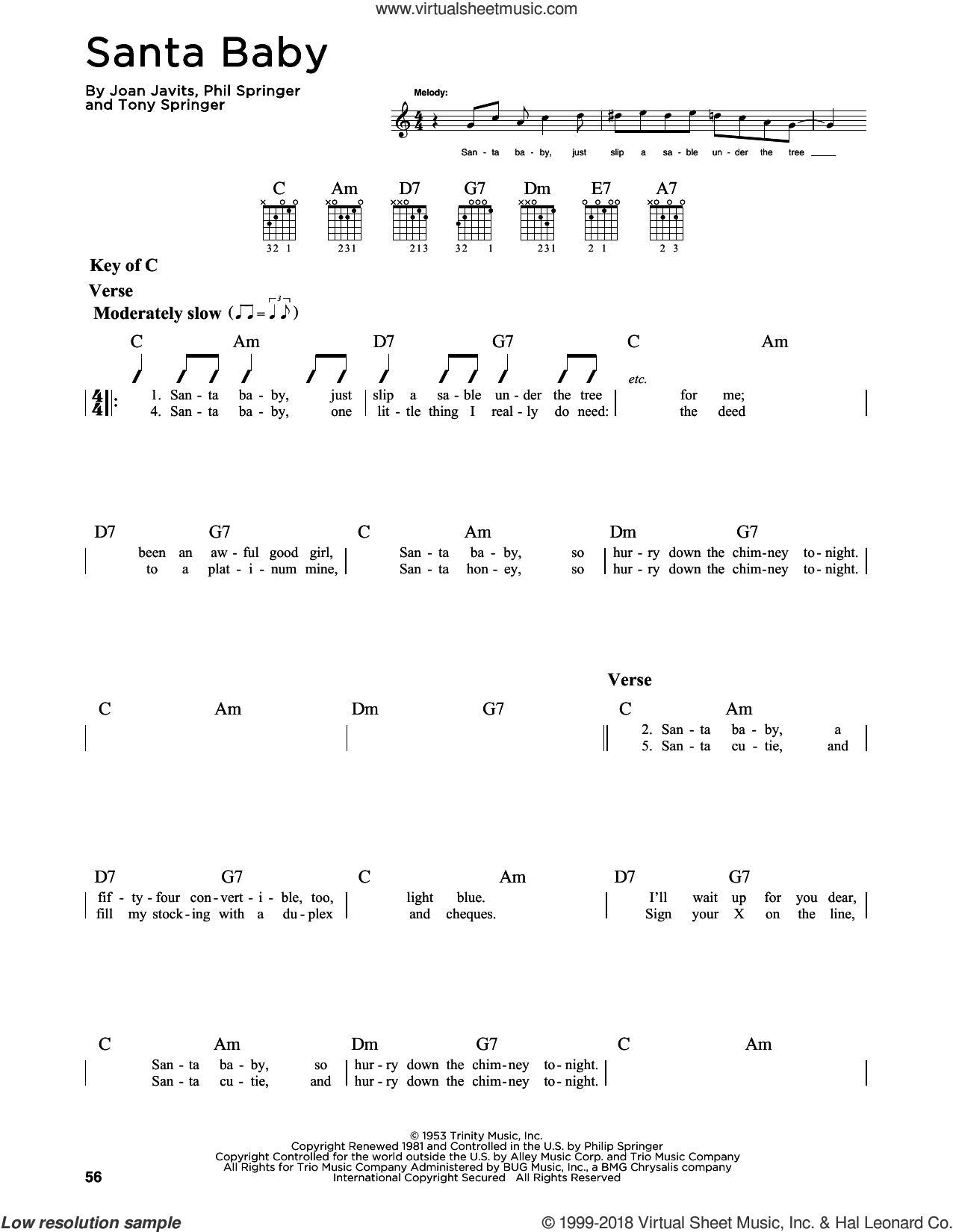 Santa Baby sheet music for guitar solo (lead sheet) by Eartha Kitt, Kellie Pickler, Miscellaneous, Taylor Swift, Joan Javits, Phil Springer and Tony Springer, intermediate guitar (lead sheet)