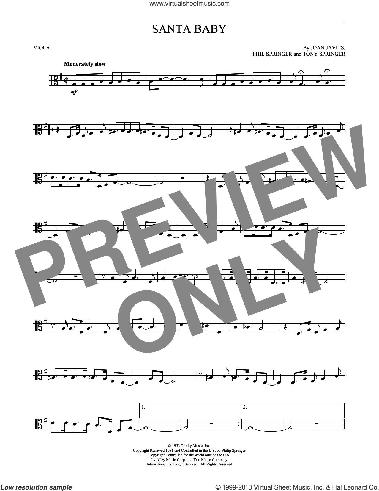 Santa Baby sheet music for viola solo by Eartha Kitt, Kellie Pickler, Taylor Swift, Joan Javits, Phil Springer and Tony Springer, intermediate skill level