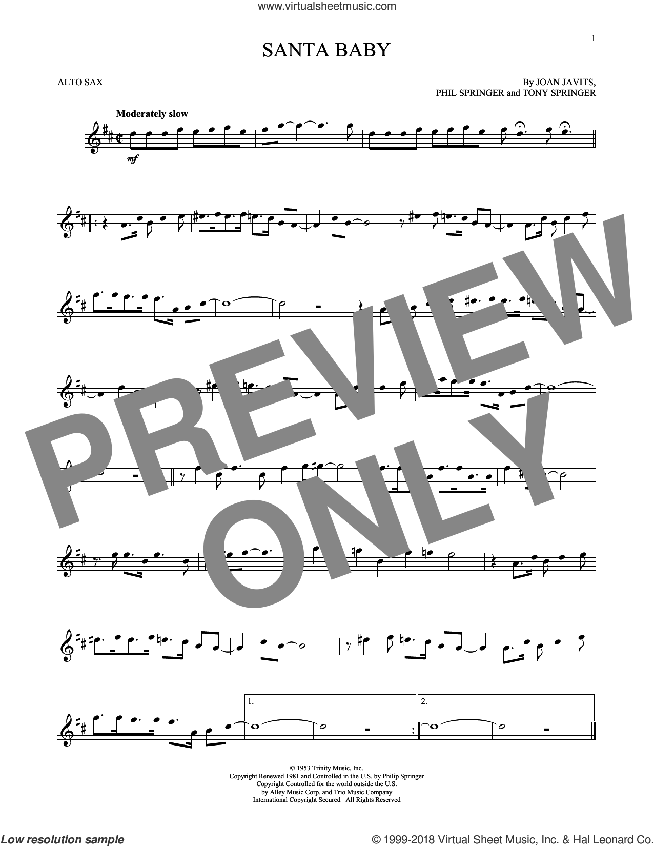 Santa Baby sheet music for alto saxophone solo by Eartha Kitt, Kellie Pickler, Taylor Swift, Joan Javits, Phil Springer and Tony Springer, intermediate skill level