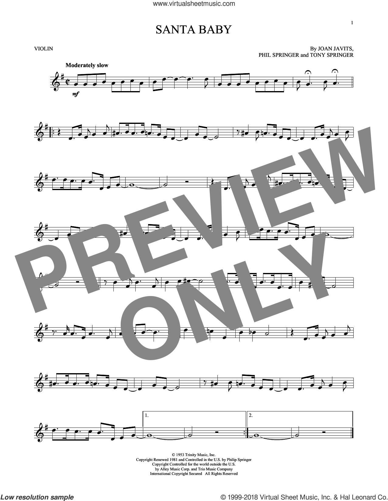 Santa Baby sheet music for violin solo by Eartha Kitt, Kellie Pickler, Taylor Swift, Joan Javits, Phil Springer and Tony Springer, intermediate skill level