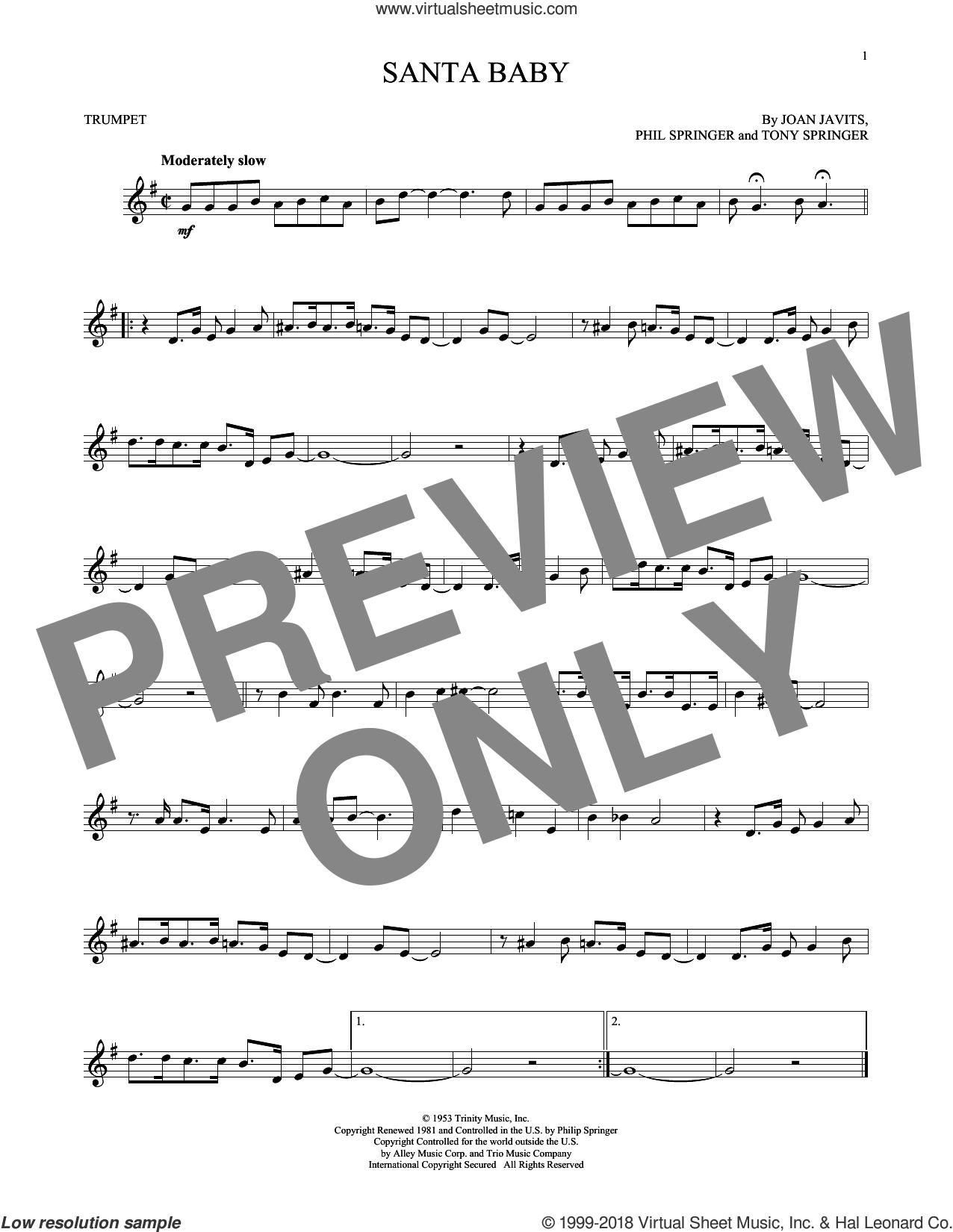 Santa Baby sheet music for trumpet solo by Eartha Kitt, Kellie Pickler, Taylor Swift, Joan Javits, Phil Springer and Tony Springer, intermediate skill level