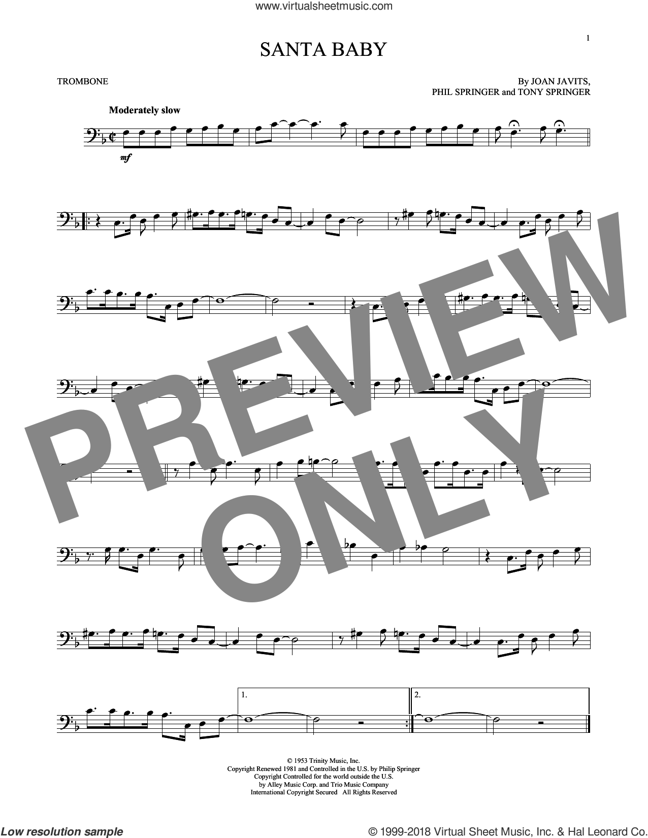 Santa Baby sheet music for trombone solo by Joan Javits, Kellie Pickler, Taylor Swift, Phil Springer and Tony Springer, intermediate skill level