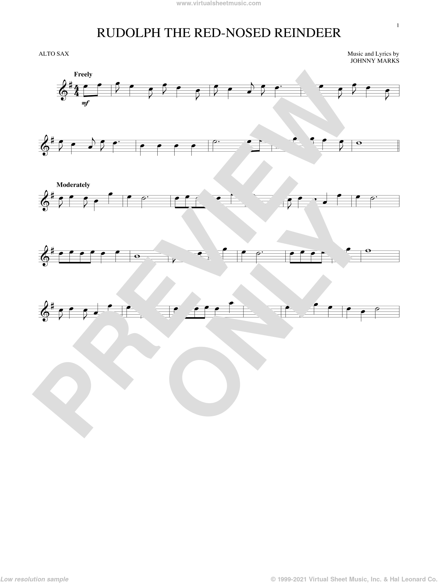 Rudolph The Red-Nosed Reindeer sheet music for alto saxophone solo by Johnny Marks and John Denver, intermediate skill level
