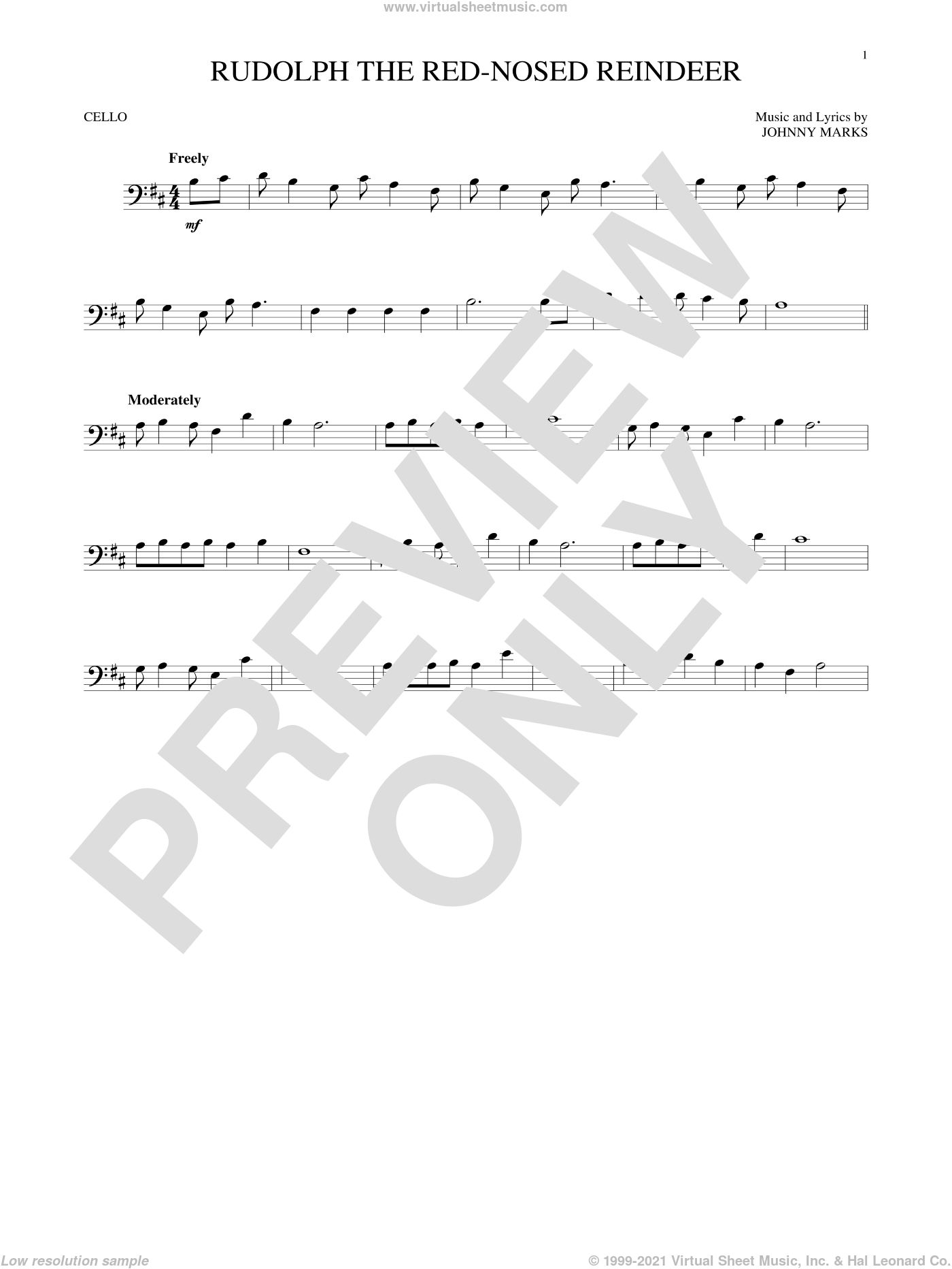 Rudolph The Red-Nosed Reindeer sheet music for cello solo by Johnny Marks and John Denver, intermediate skill level