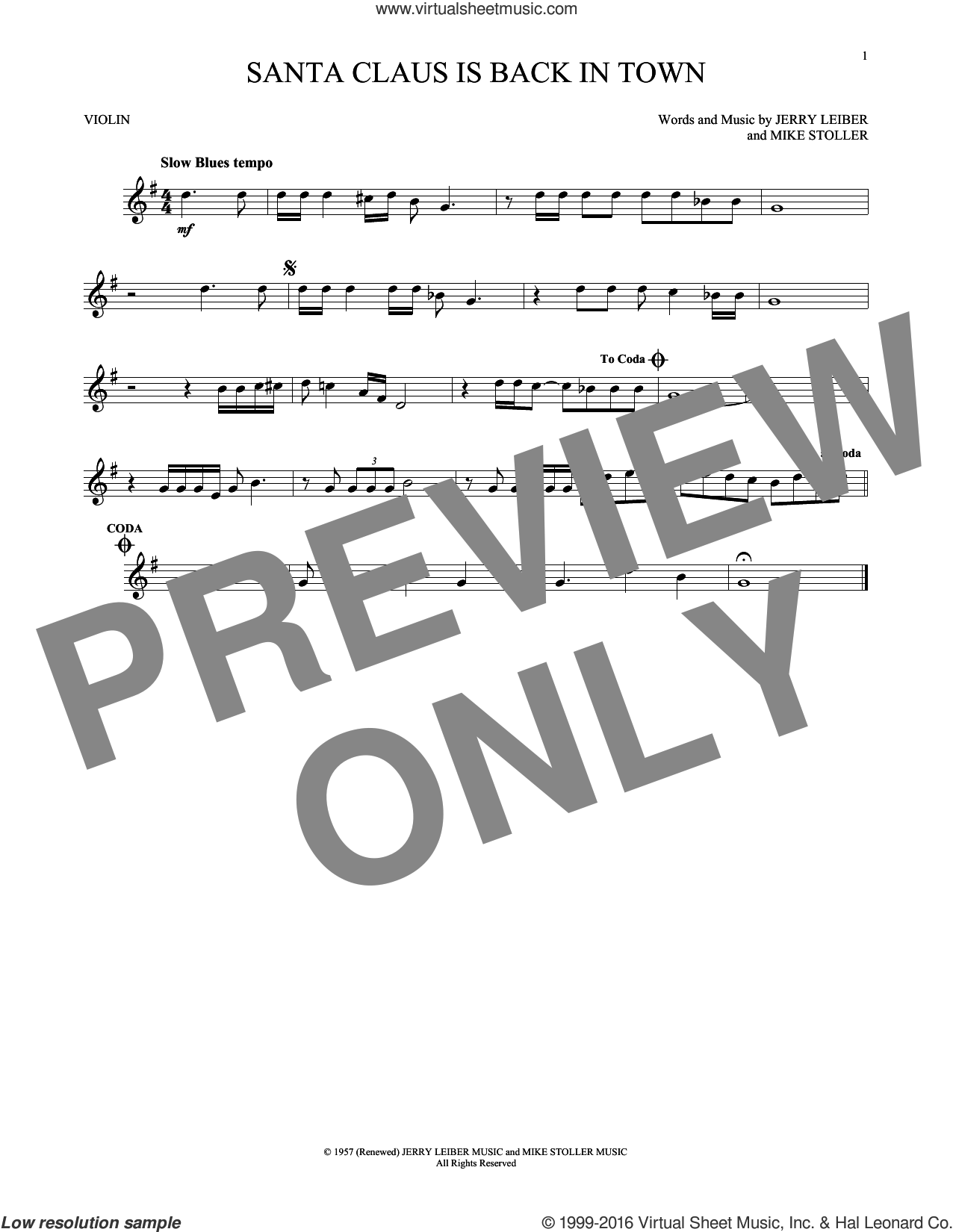 Santa Claus Is Back In Town sheet music for violin solo by Elvis Presley, Jerry Leiber and Mike Stoller, intermediate
