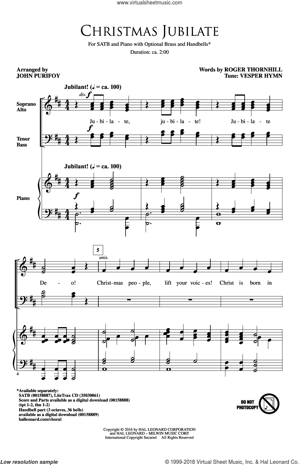 Christmas Jubilate sheet music for choir (SATB) by Vesper Hymn, John Purifoy and Roger Thornhill. Score Image Preview.