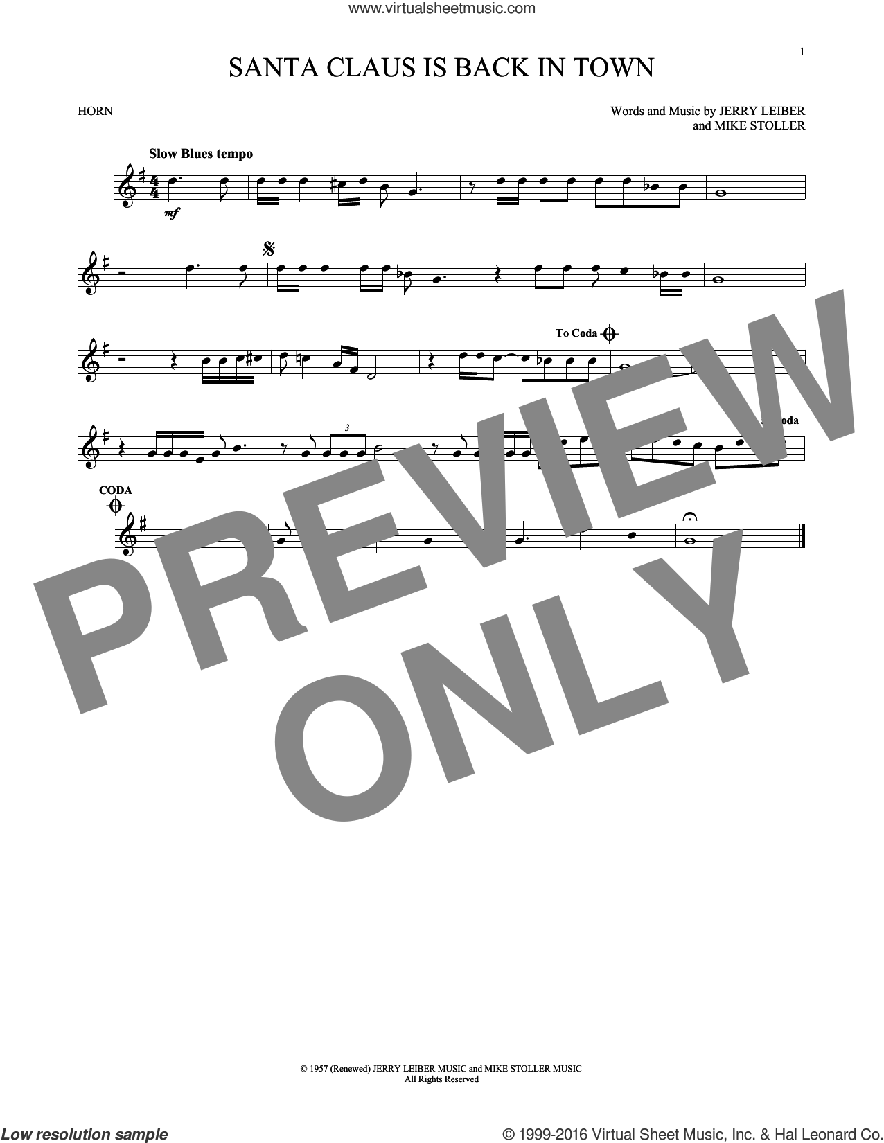 Santa Claus Is Back In Town sheet music for horn solo by Elvis Presley and Mike Stoller, Christmas carol score, intermediate horn. Score Image Preview.