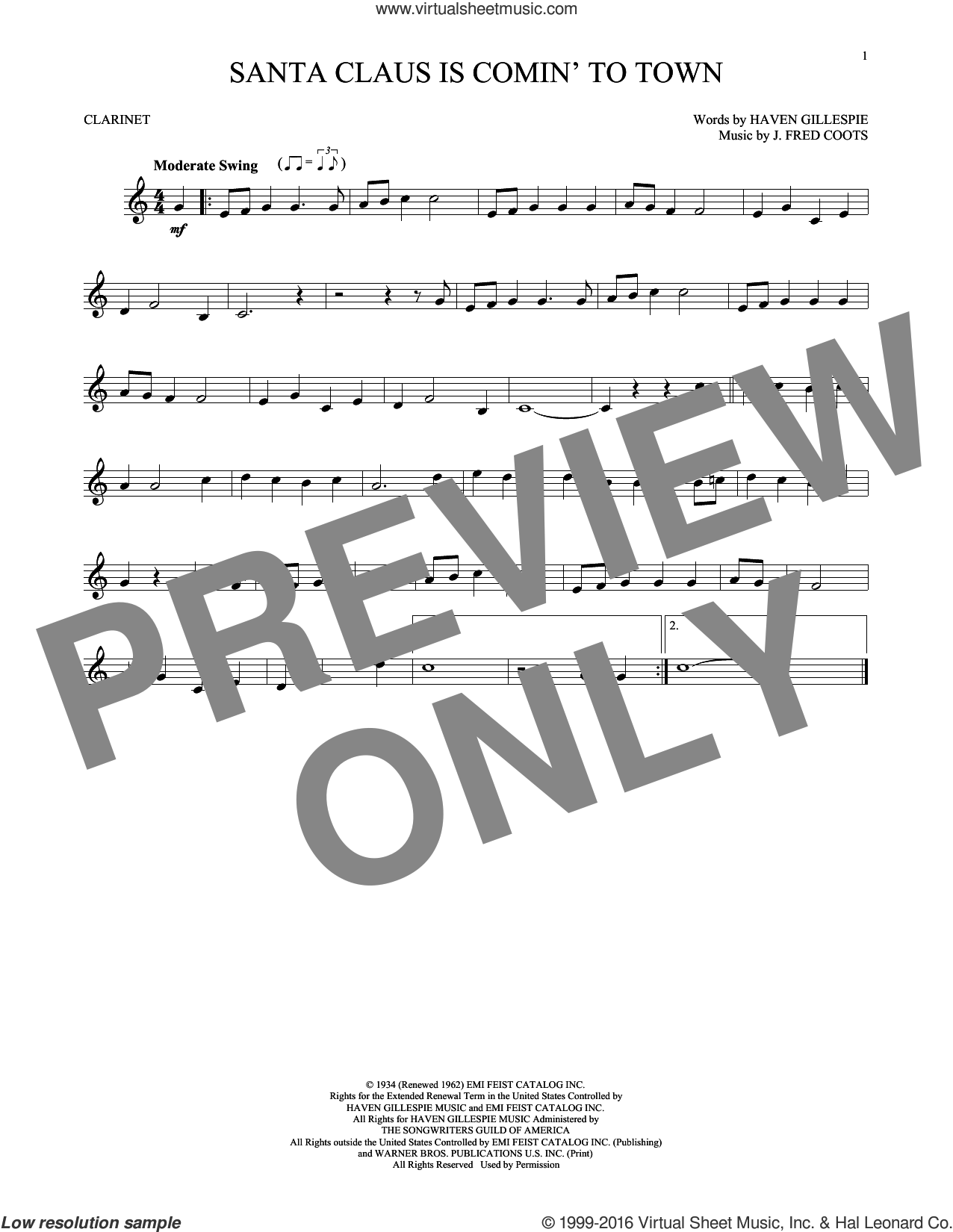Santa Claus Is Comin' To Town sheet music for clarinet solo by Haven Gillespie and J. Fred Coots. Score Image Preview.