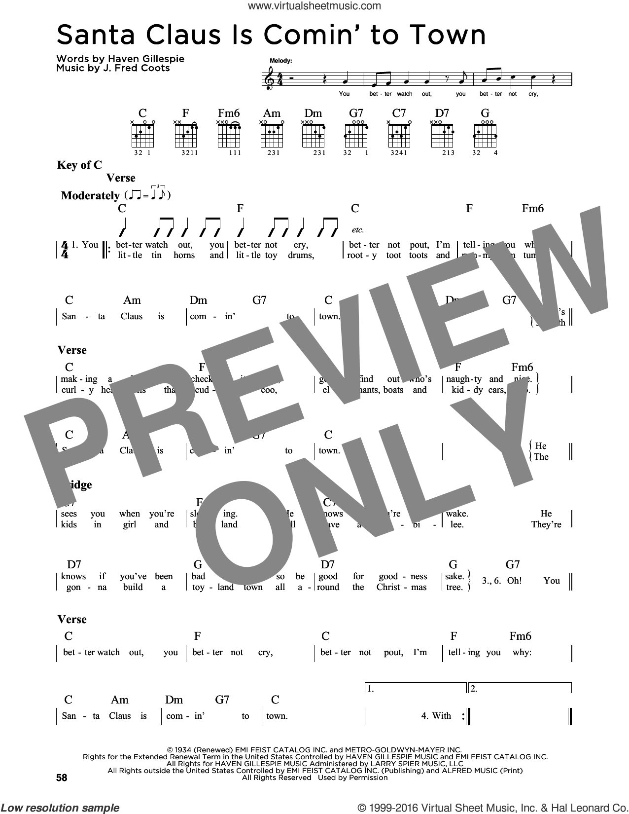 Santa Claus Is Comin' To Town sheet music for guitar solo (lead sheet) by J. Fred Coots and Haven Gillespie, intermediate guitar (lead sheet). Score Image Preview.