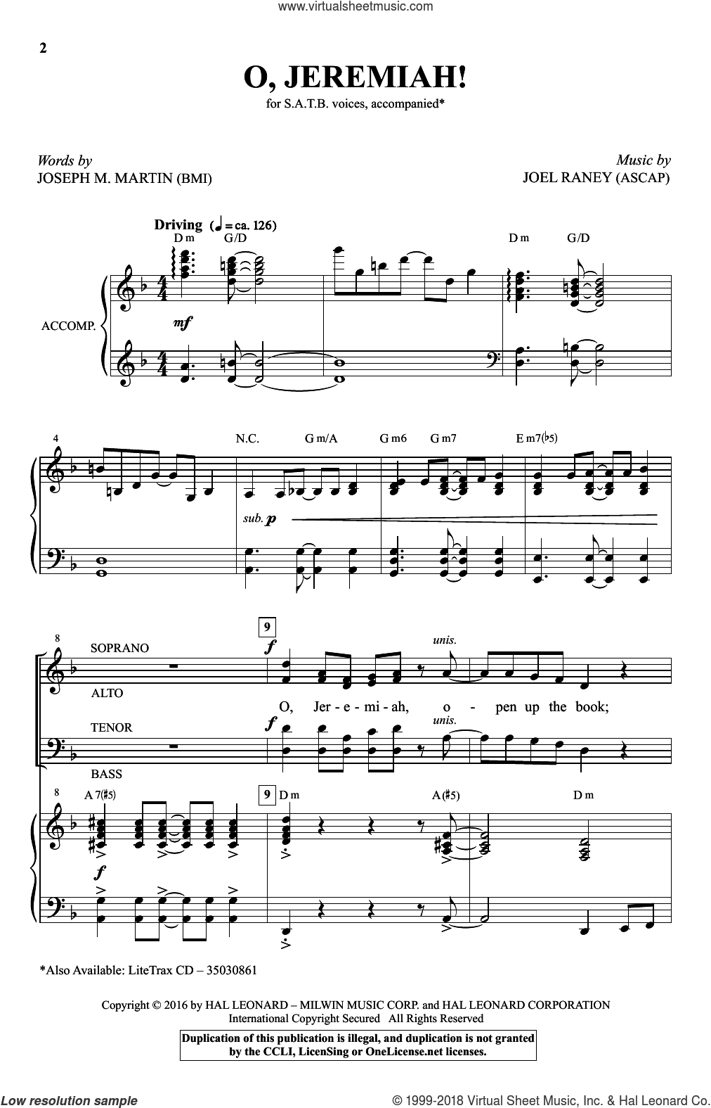 O, Jeremiah! sheet music for choir and piano (SATB) by Joseph M. Martin and Joel Raney. Score Image Preview.