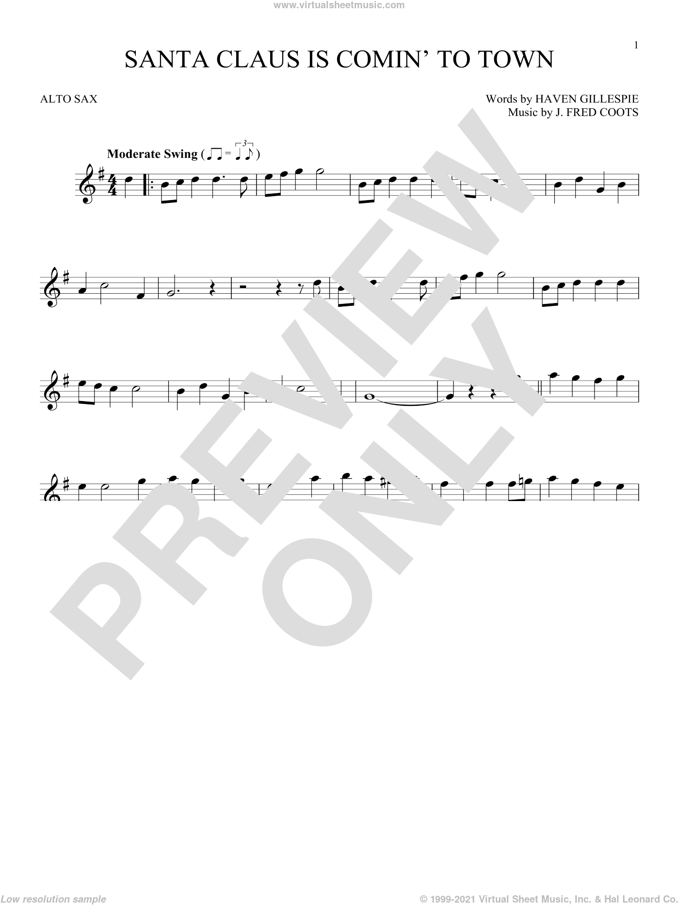 Santa Claus Is Comin' To Town sheet music for alto saxophone solo by J. Fred Coots and Haven Gillespie, intermediate skill level
