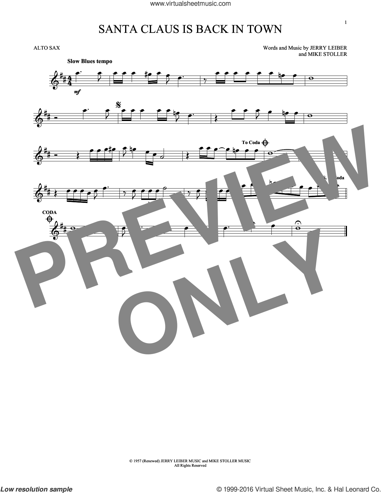 Santa Claus Is Back In Town sheet music for alto saxophone solo by Elvis Presley, Jerry Leiber and Mike Stoller, intermediate skill level