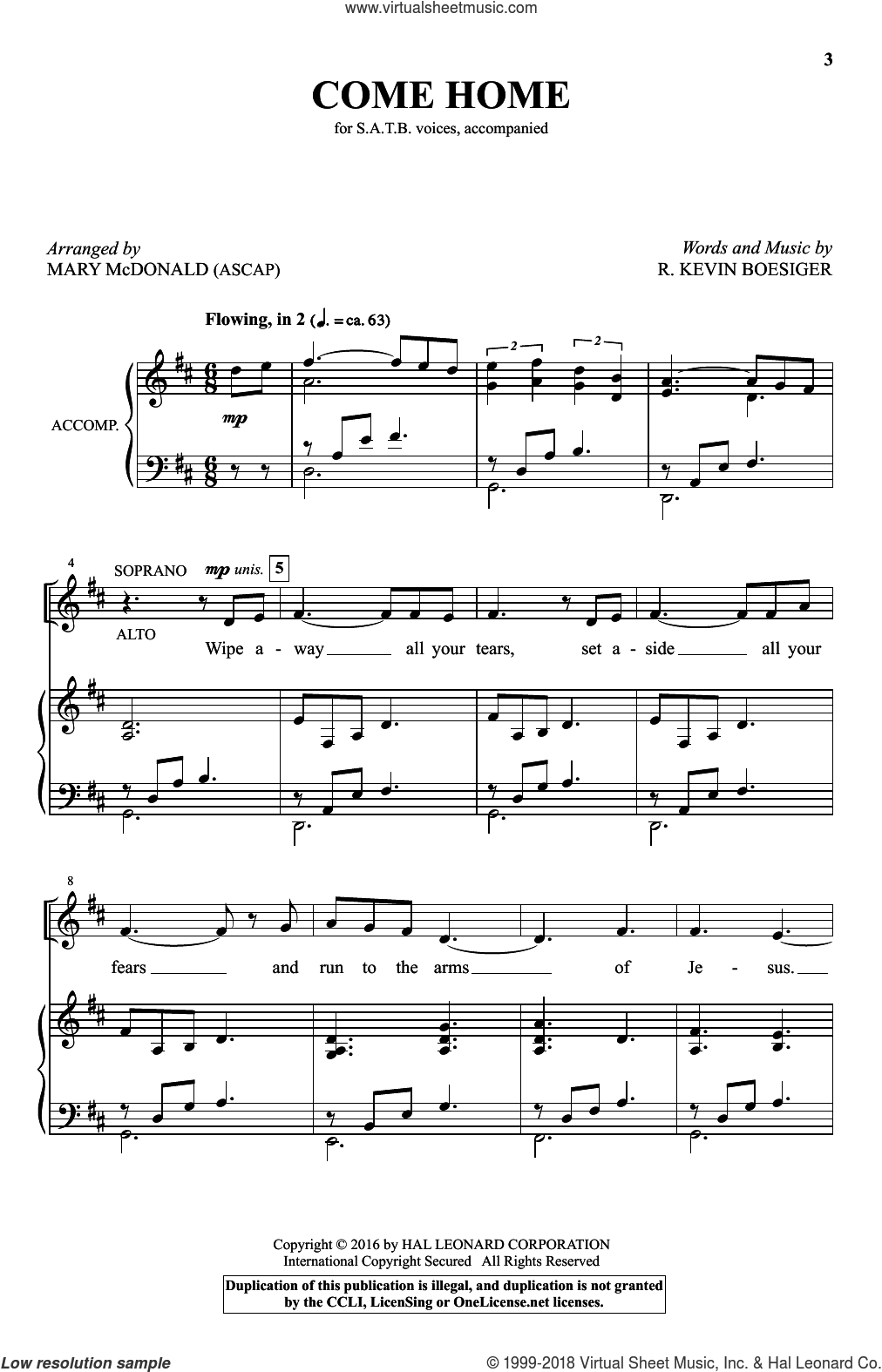 Come Home sheet music for choir (SATB) by Mary McDonald and R. Kevin Boesiger. Score Image Preview.