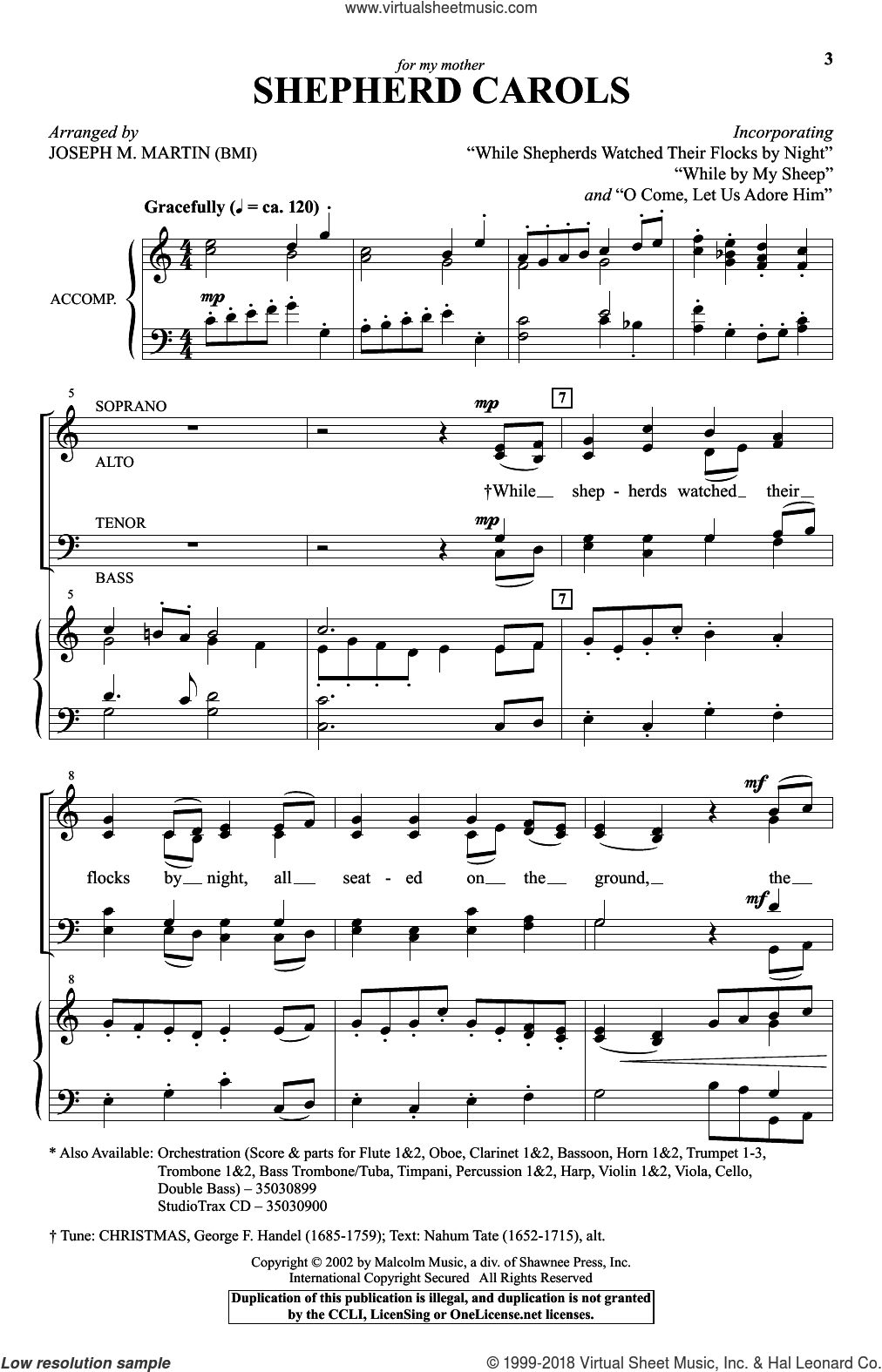 Shepherd Carols sheet music for choir (SATB: soprano, alto, tenor, bass) by Joseph M. Martin, intermediate. Score Image Preview.