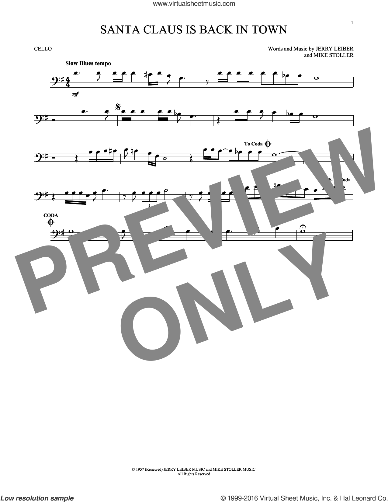 Santa Claus Is Back In Town sheet music for cello solo by Elvis Presley, Jerry Leiber and Mike Stoller, intermediate skill level