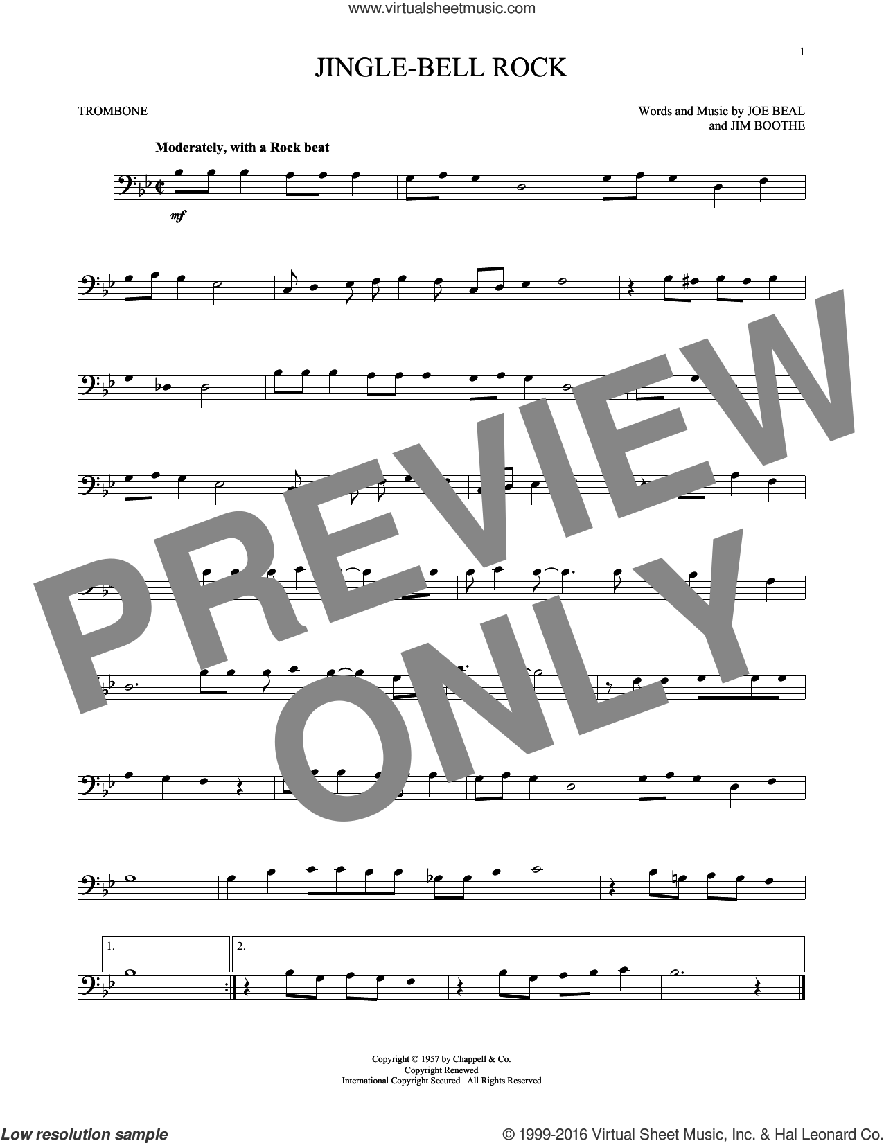 Jingle Bell Rock sheet music for trombone solo by Bobby Helms, Aaron Tippin, Jim Boothe and Joe Beal, Christmas carol score, intermediate trombone. Score Image Preview.